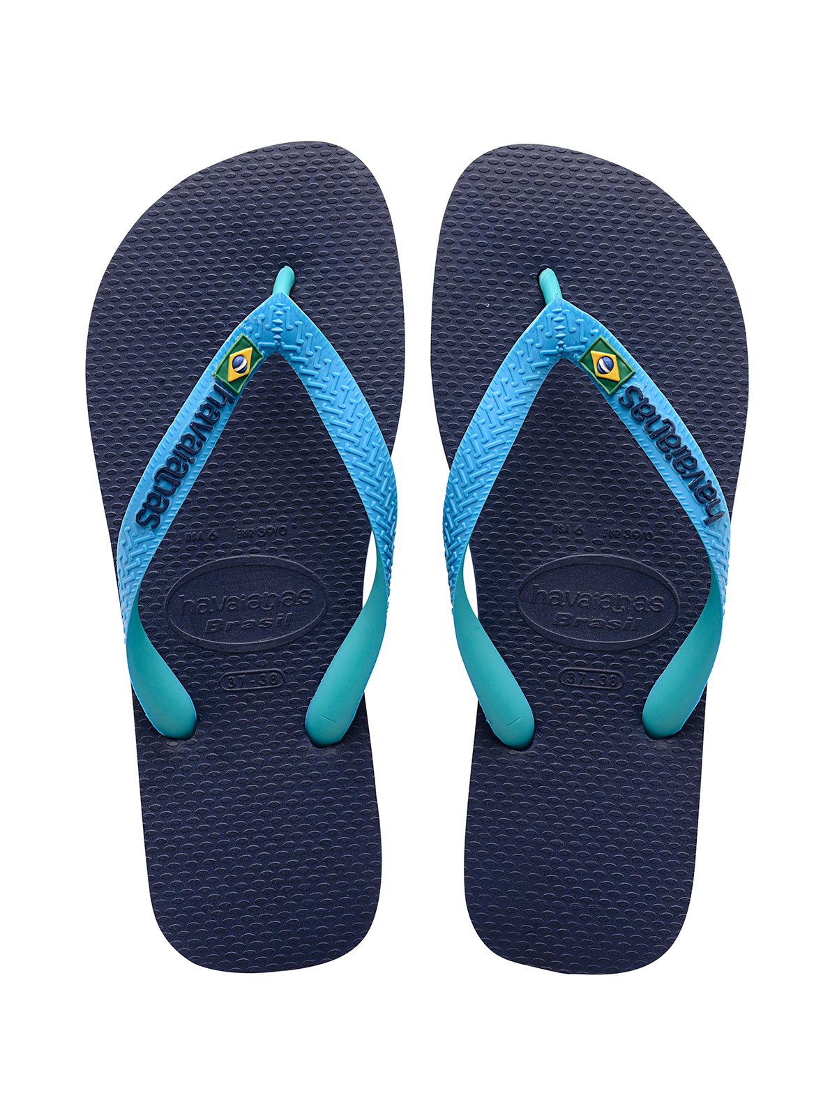 d86483997557 ... Two-toned flip flops featuring a navy blue footbed and turquoise straps  - Brasil Mix ...