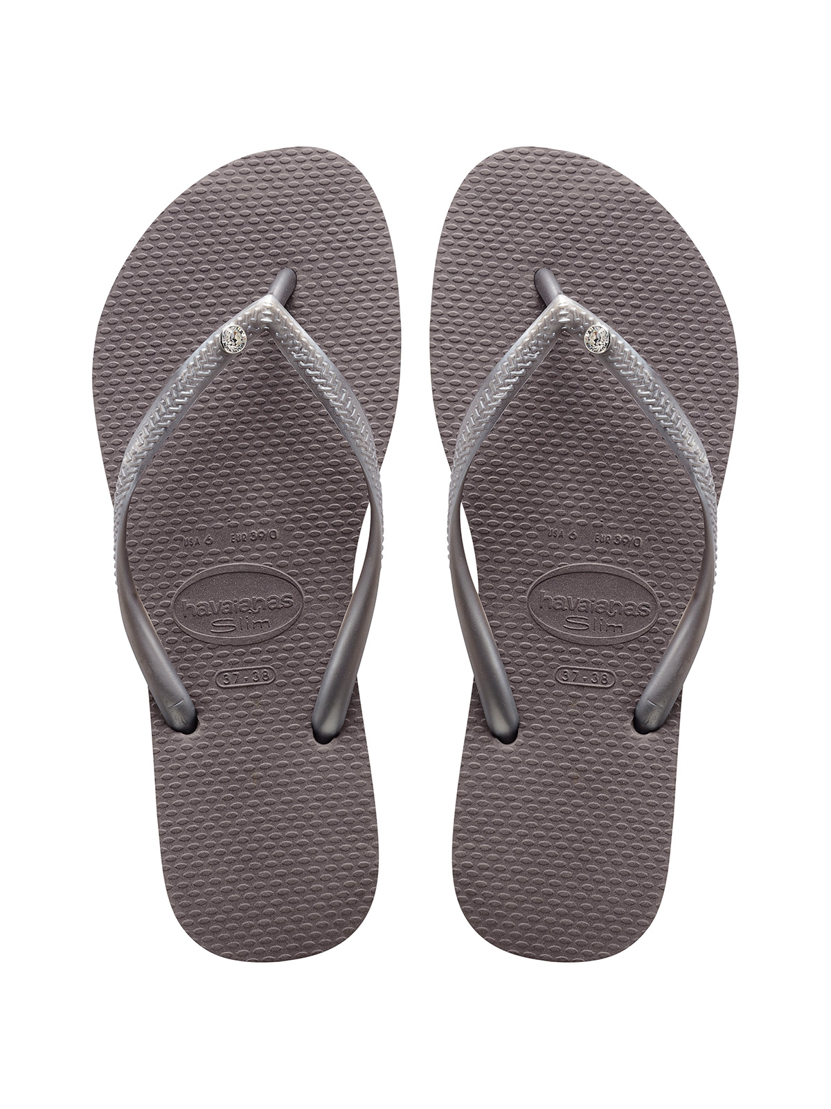 Havaianas Damen Slim Logo Metallic Zehentrenner, Beige (Sand Grey/Light Golden), 39/40 EU (37/38 BR)