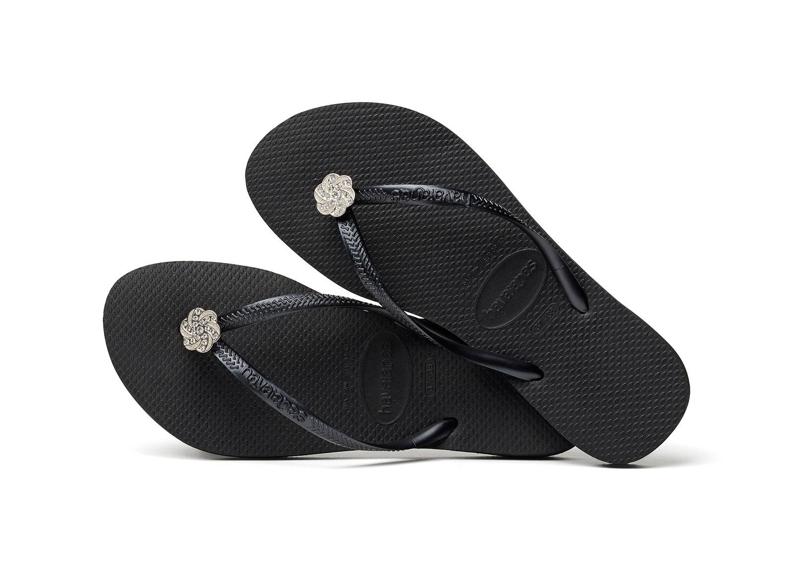 3c4704cb59910b ... Black Flip Flops - Havaianas Slim Crystal Poem Black Graphite ...