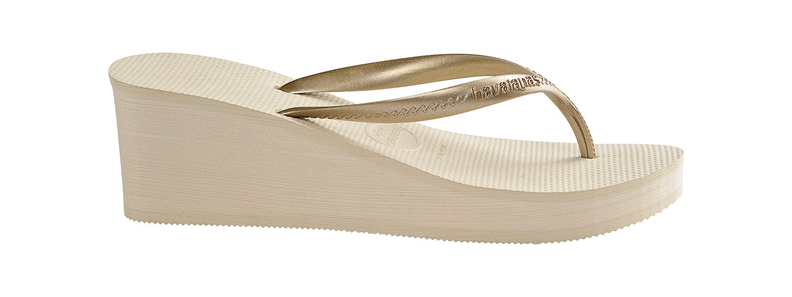 e81ab544ec4 ... Beige flip-flops with wedge heels and gold effect straps - High Fashion  Beige ...