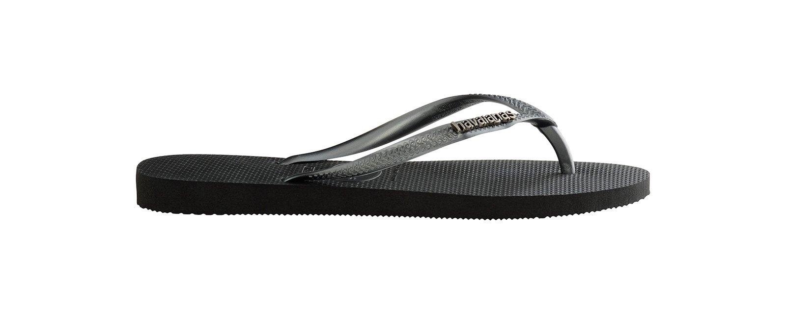 81c143c6d3fa25 ... Black Flip Flops - Havaianas Slim Logo Metallic Black Graphite ...