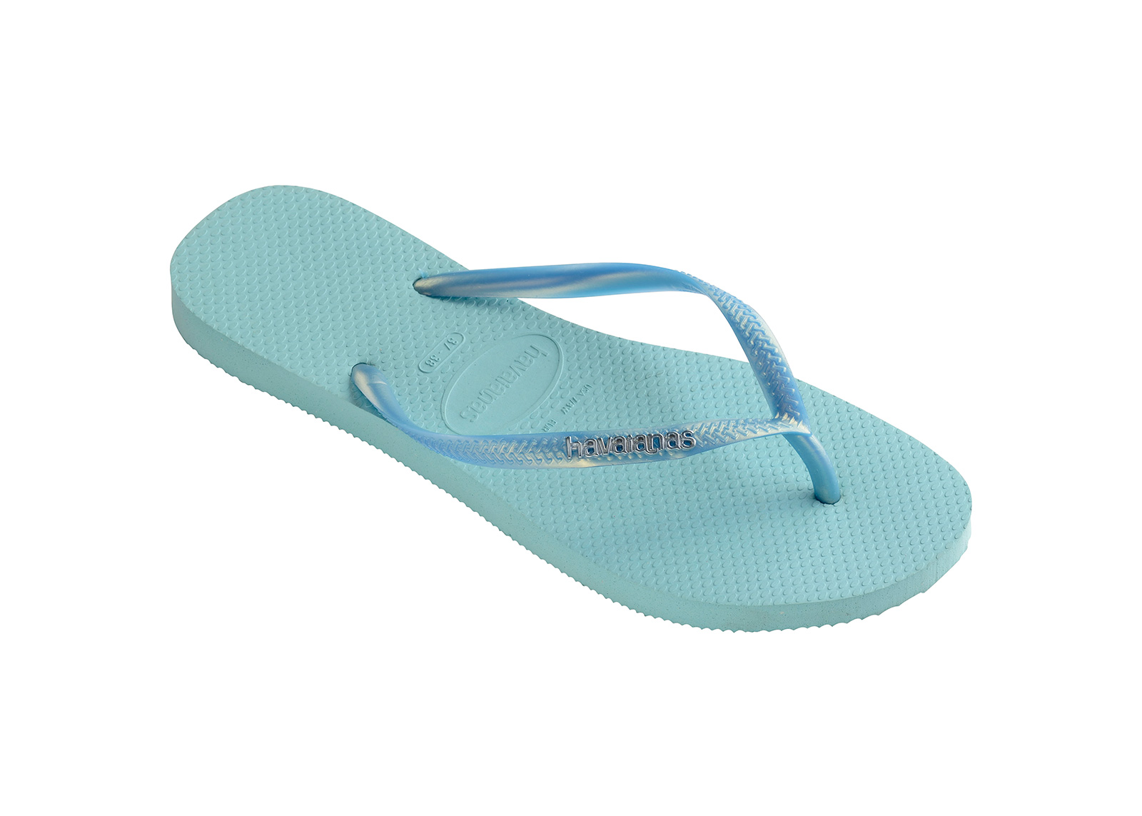 a78396885a8a80 Flip-Flops Flip-flops - Havaianas Slim Logo Metallic Ice Blue