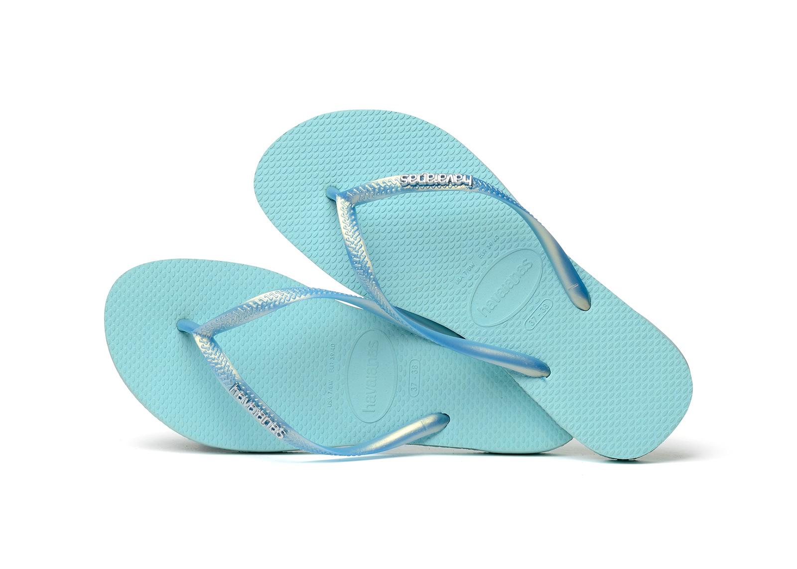06781263e1b4f4 Flip-Flops Flip-flops - Havaianas Slim Logo Metallic Ice Blue