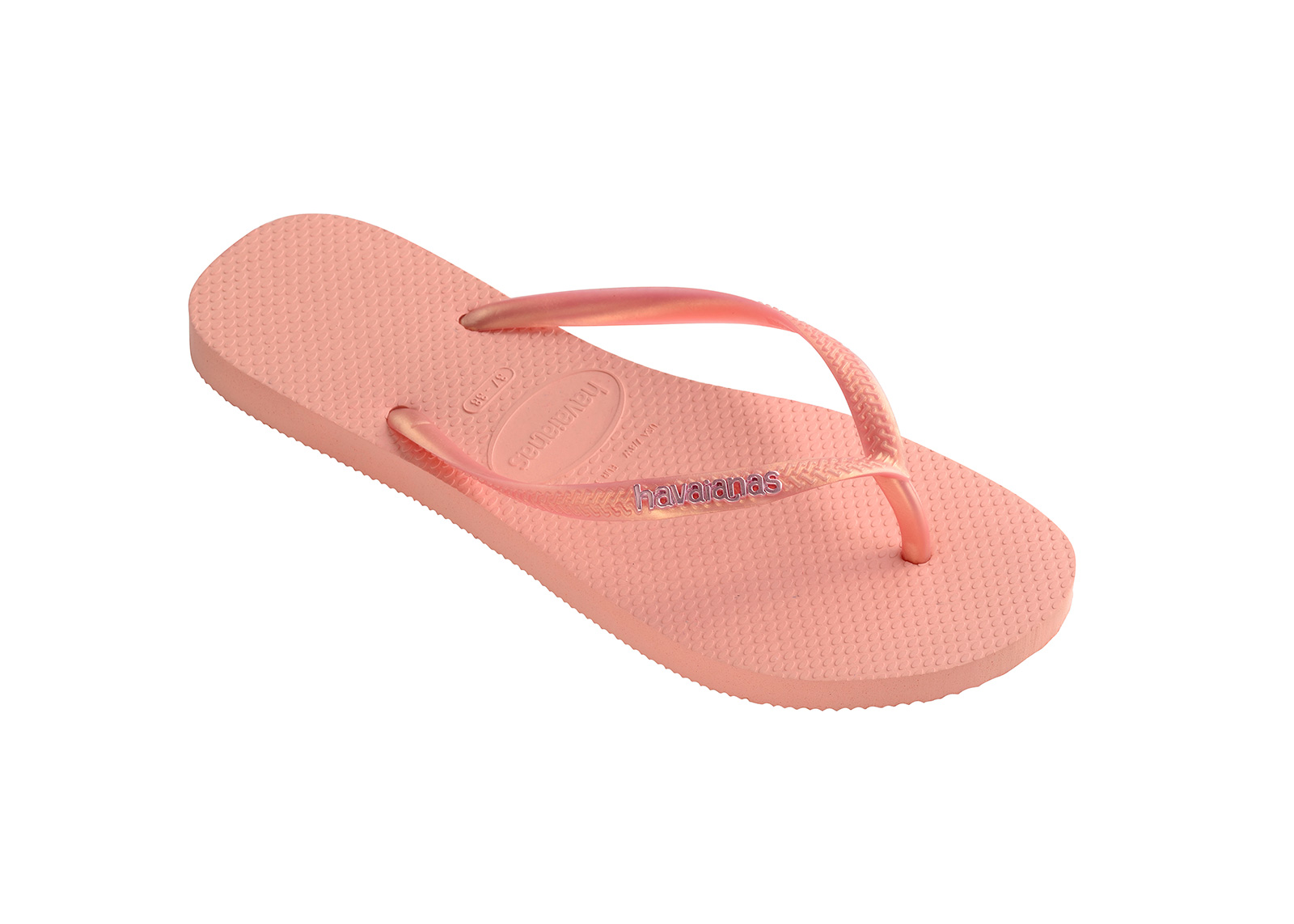 641d5806a94184 Flip-Flops Pink Flip Flops - Havaianas Slim Logo Metallic Light Pink