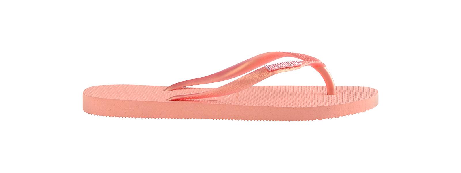 28569e1a75216a Flip-Flops Pink Flip Flops - Havaianas Slim Logo Metallic Light Pink