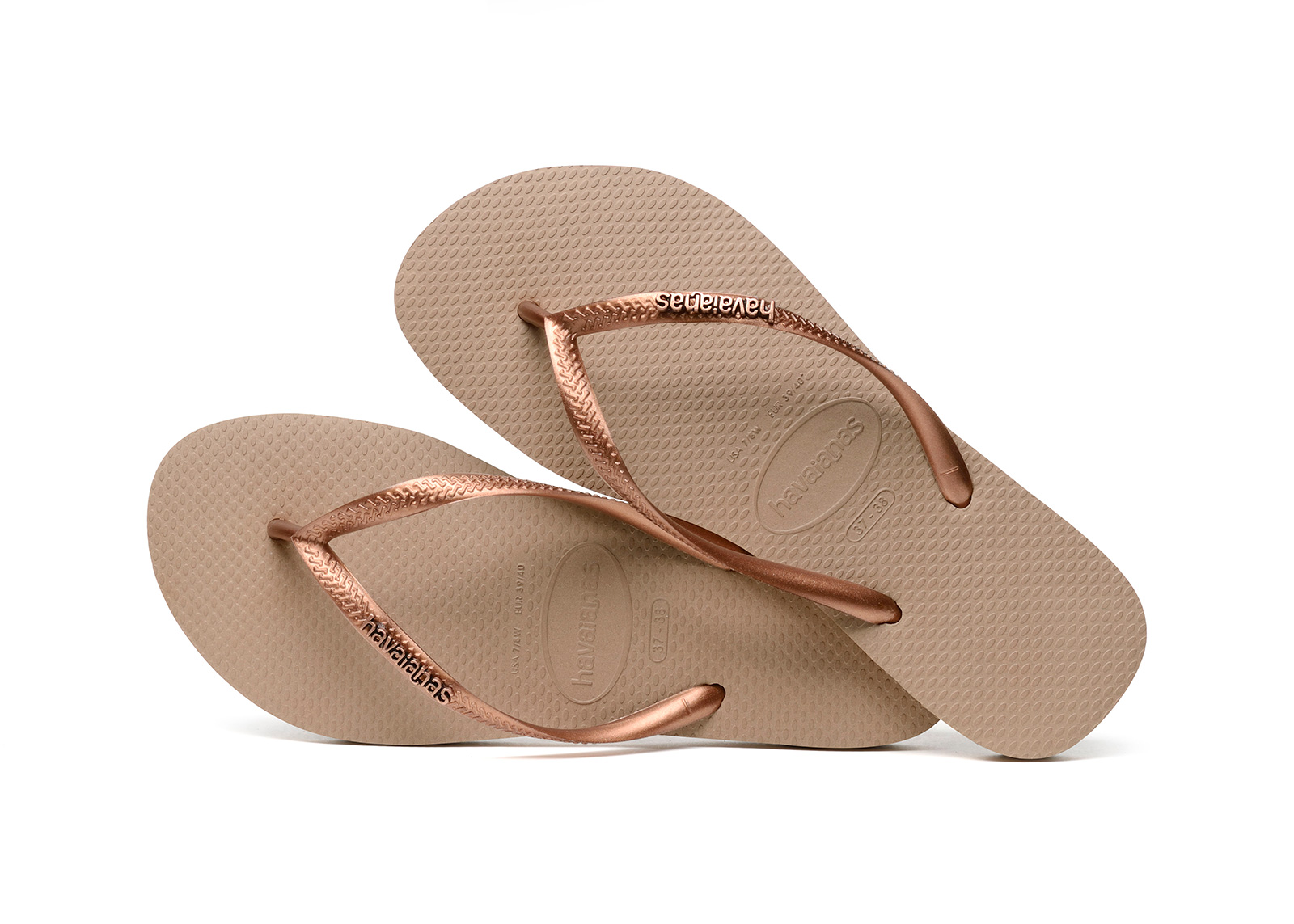 3d02c0c623c1 Chinelos Chinelos - Havaianas Slim Logo Metallic Rose dark Copper