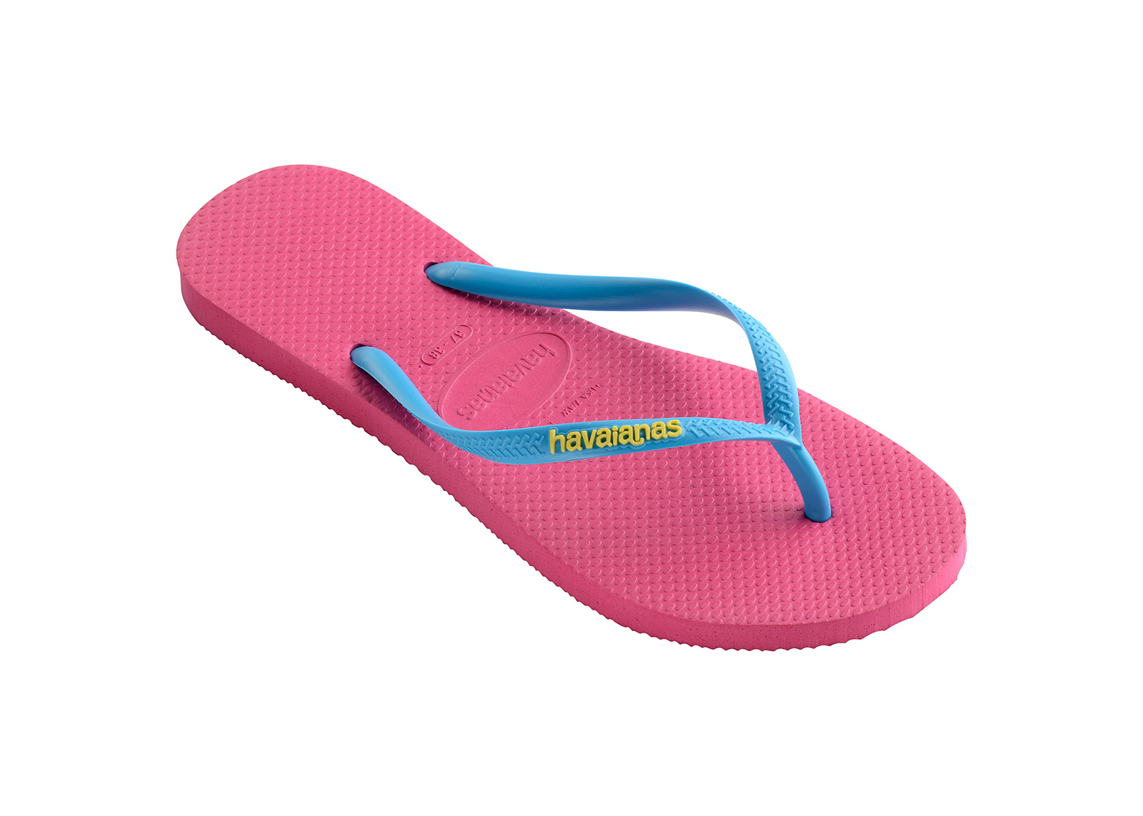 Pink Flip Flops Havaianas Slim Logo Orchid RoseTurquoise
