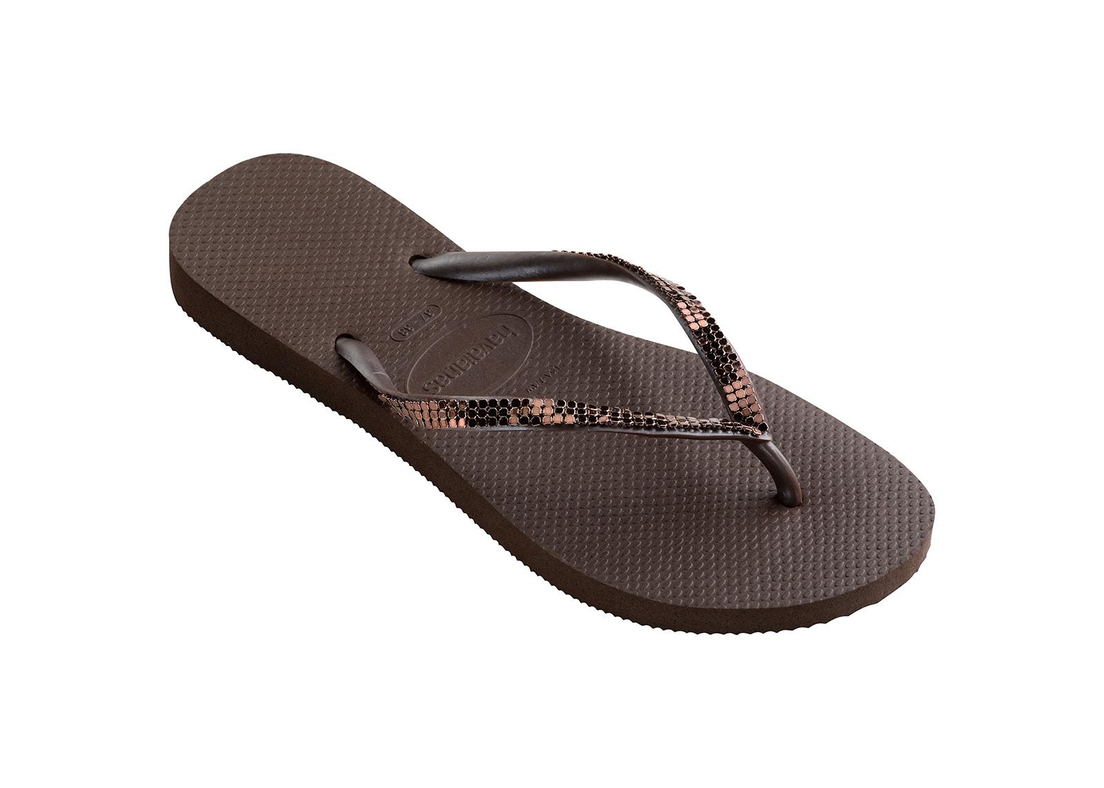 67f285cdd32669 Flip-Flops Flip-flops - Havaianas Slim Metal Mesh Dark Brown
