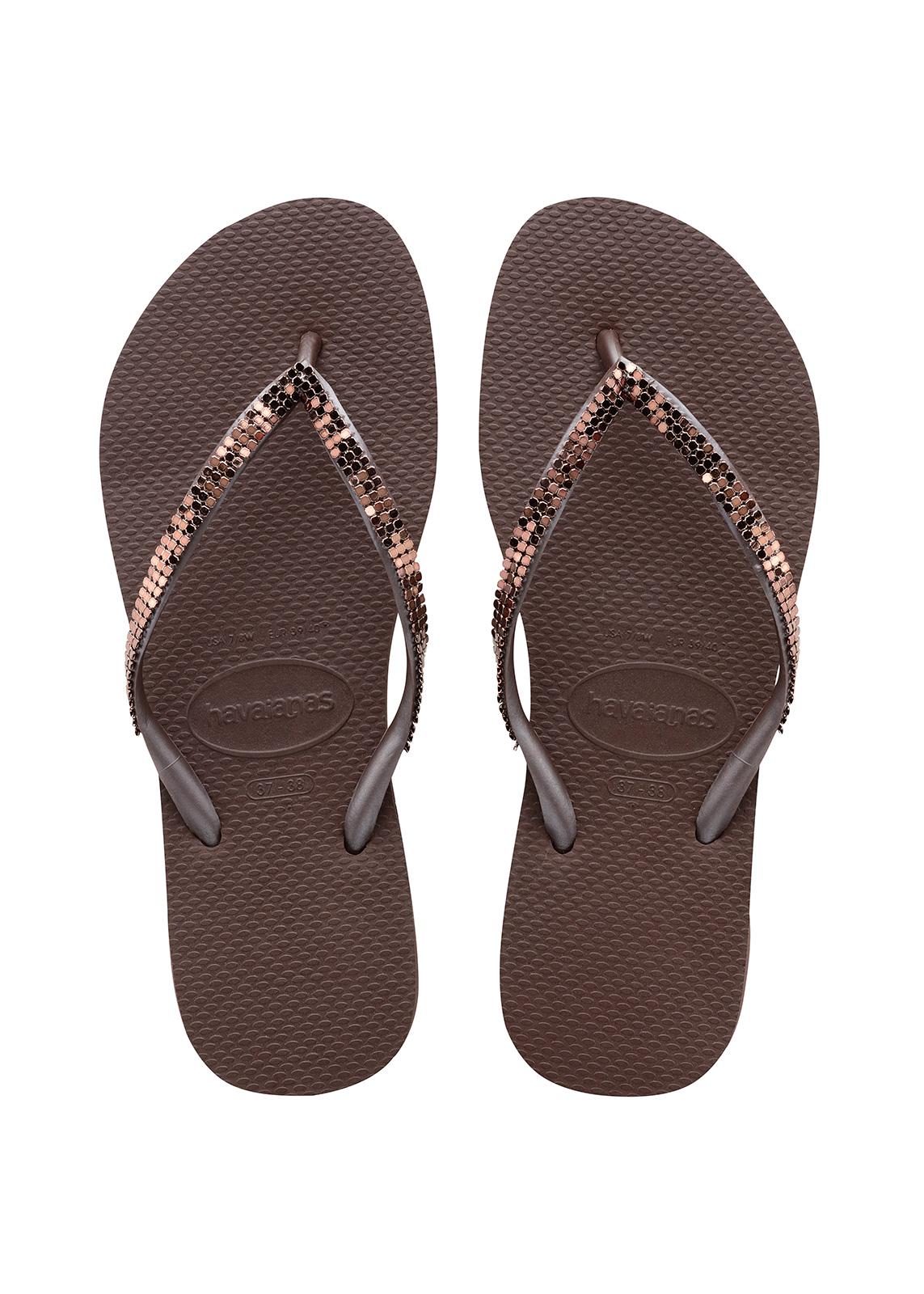 Flip-Flops Flip-Flops - Havaianas Slim Metal Mesh Dark Brown-3587