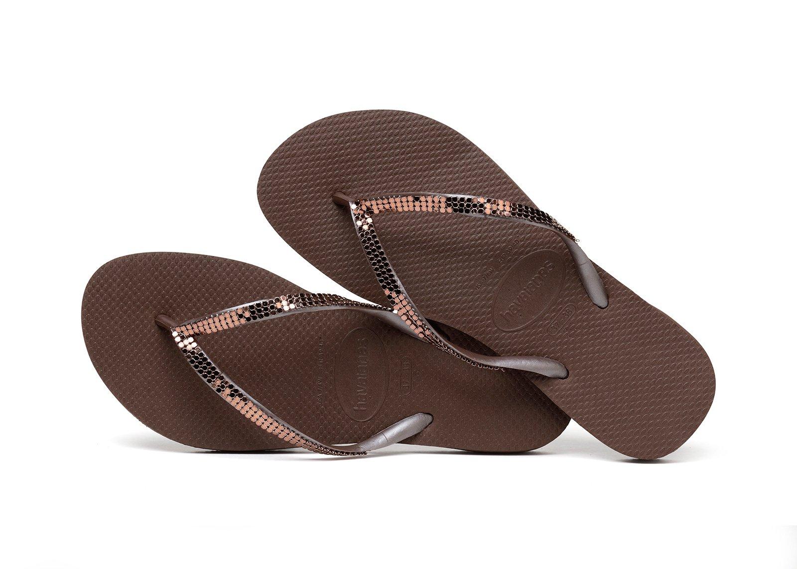 84f7a9d7f35d Flip-Flops Flip-flops - Havaianas Slim Metal Mesh Dark Brown
