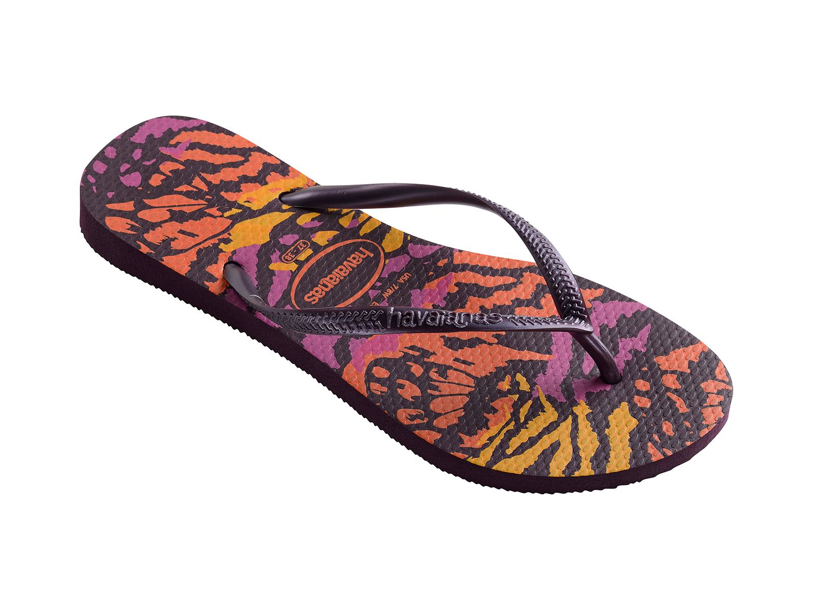 53848e43a70 Flip-Flops Colorful Animal Print Flip Flops - Slim Animals Aubergine
