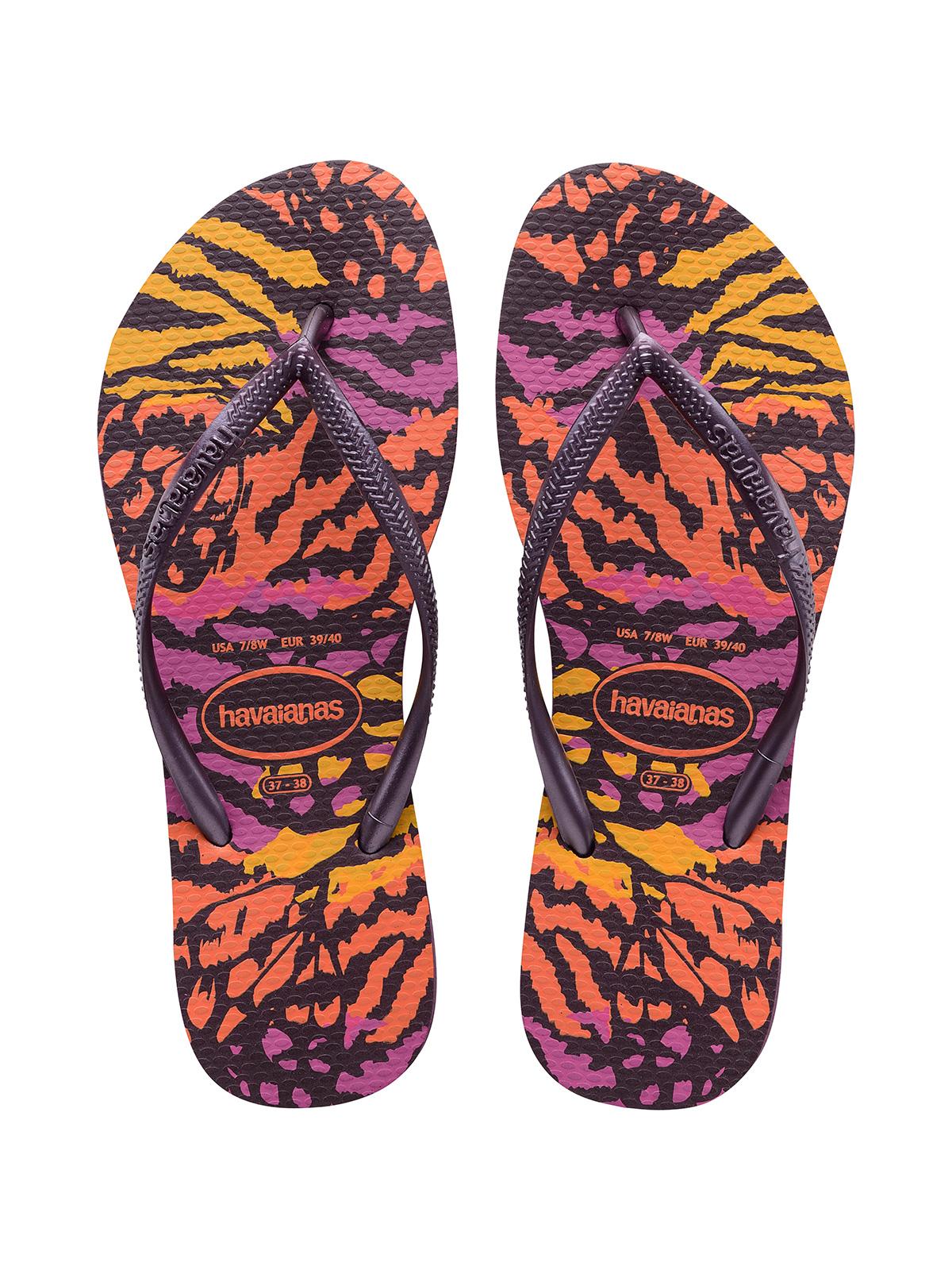 6738d628aaaf Flip-Flops Colorful Animal Print Flip Flops - Slim Animals Aubergine