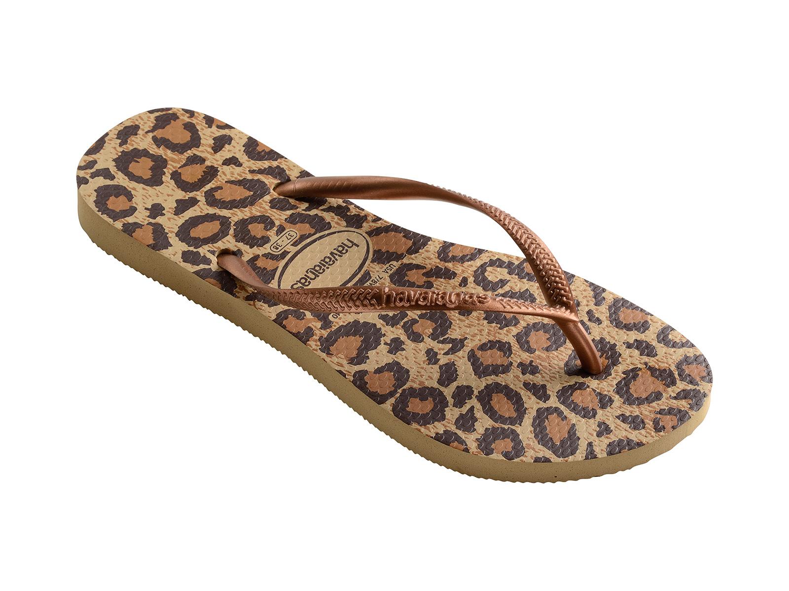 Flip-Flops Beige And Brown Leopard Flip