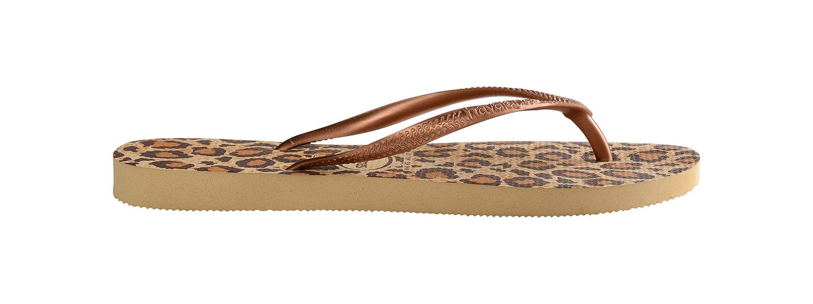 2fc4ec4e7df2 Šľapky Béžovo-hnedé šľapky S leopardím Vzorom - Slim Animals Beige