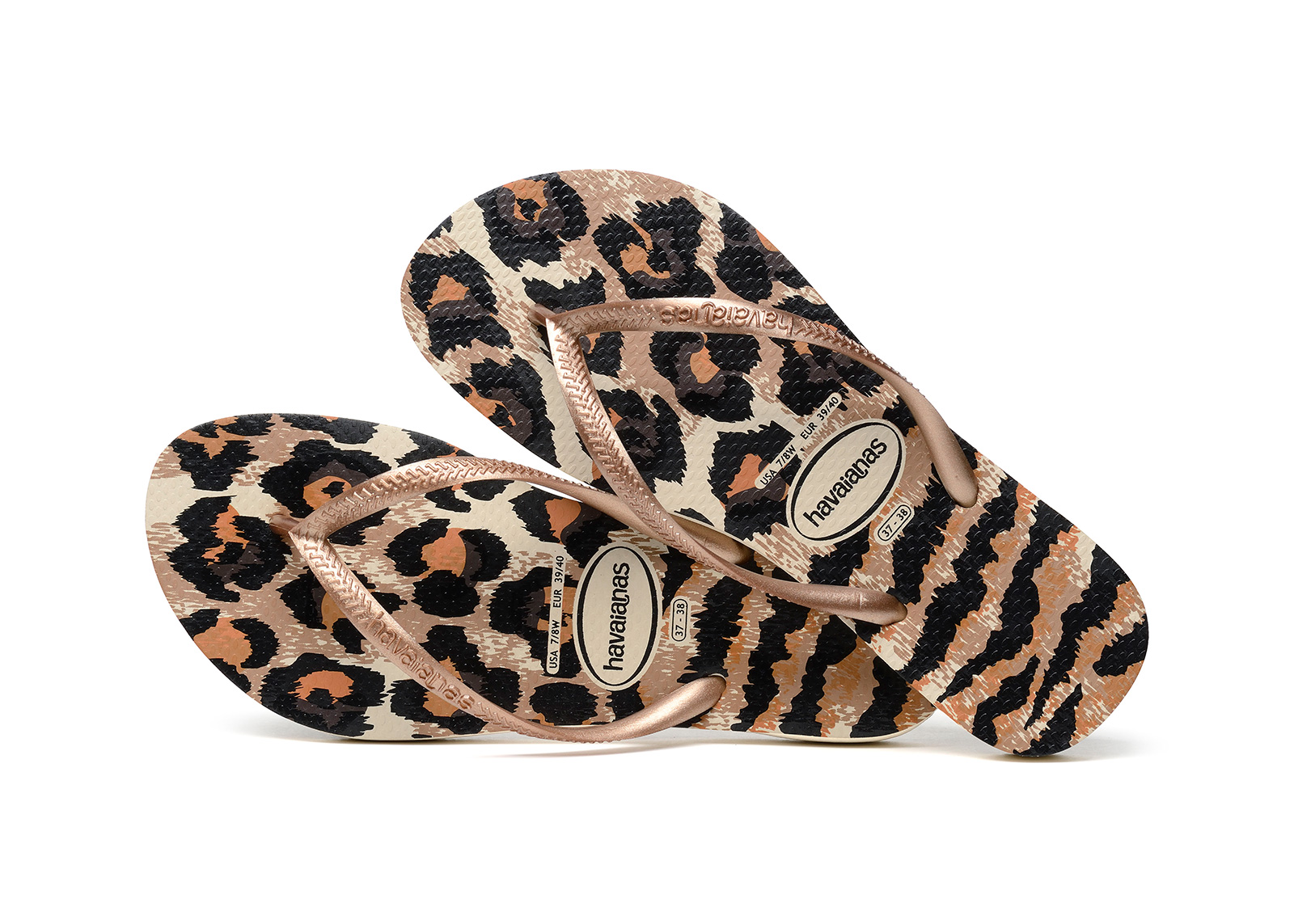 ... Flip-Flops - Havaianas Slim Animals Beige/Rose Gold ...