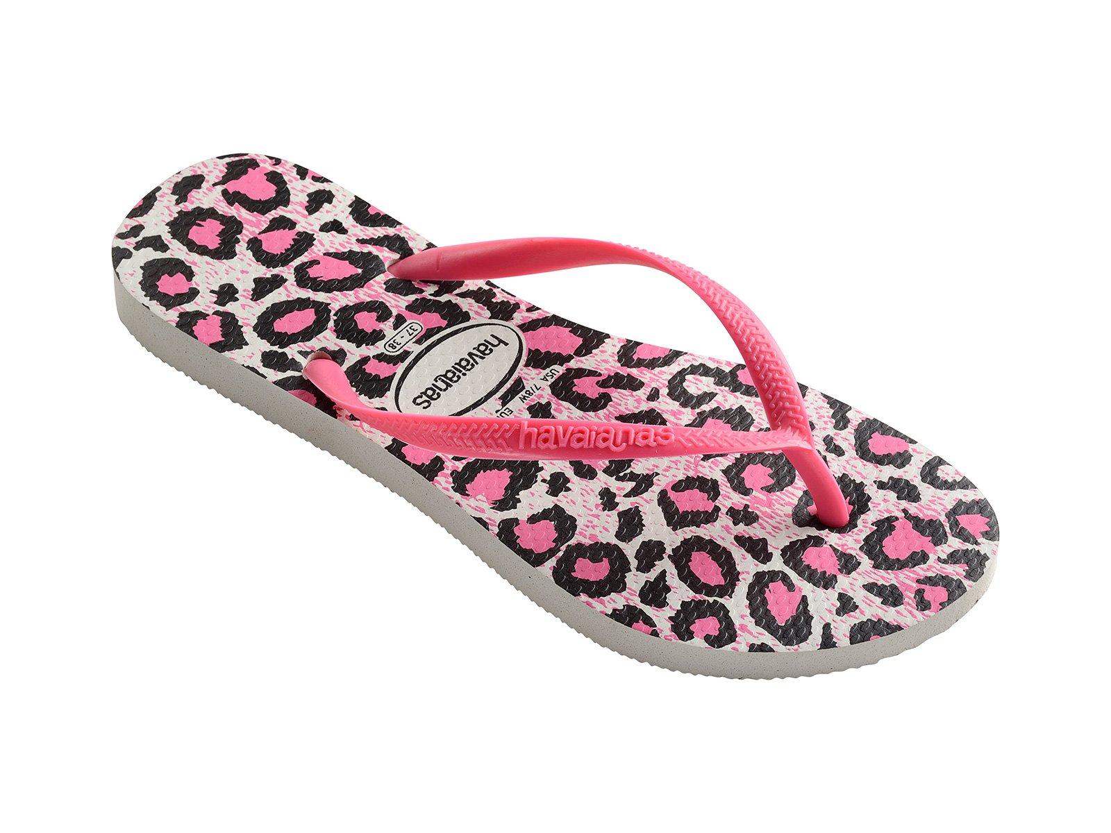 9c4355f83958 Pink And White Leopard Print Flip-flops - Slim Animals White rose -  Havaianas
