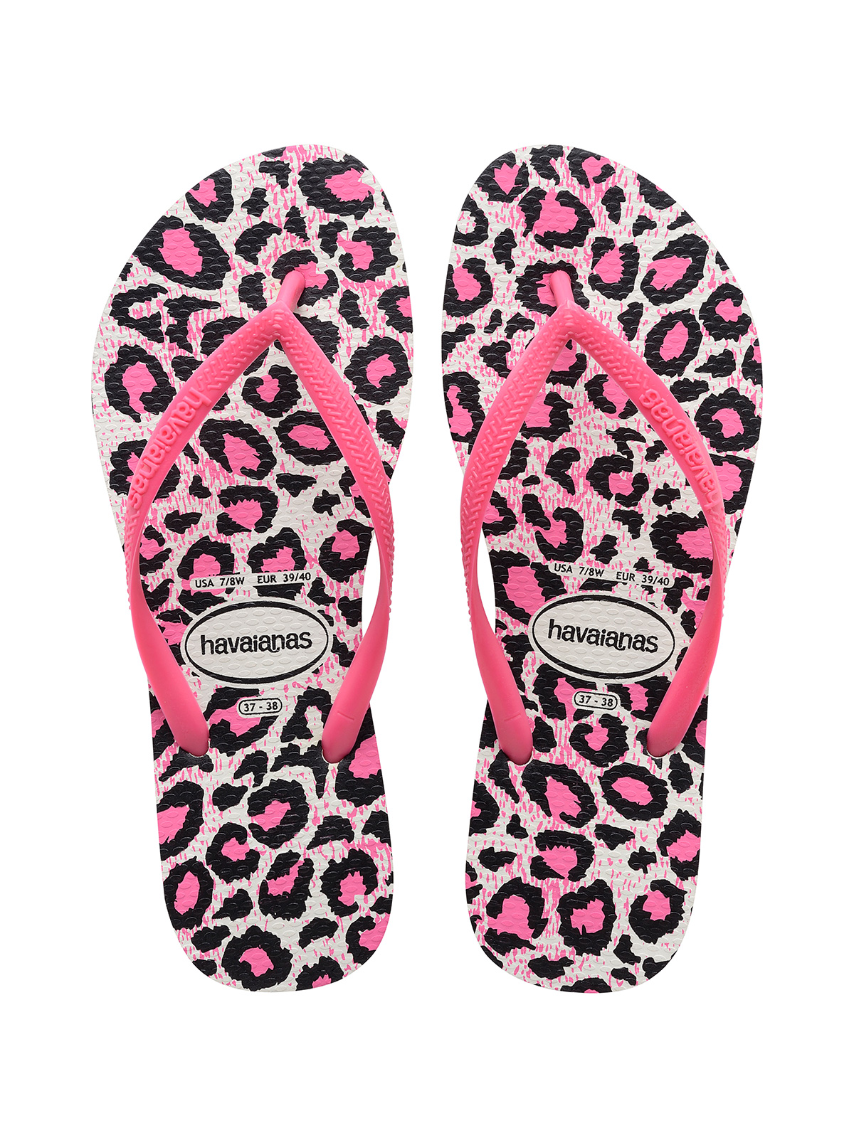 751faff05698f4 ... Pink and white leopard print flip-flops - Slim Animals White Rose ...