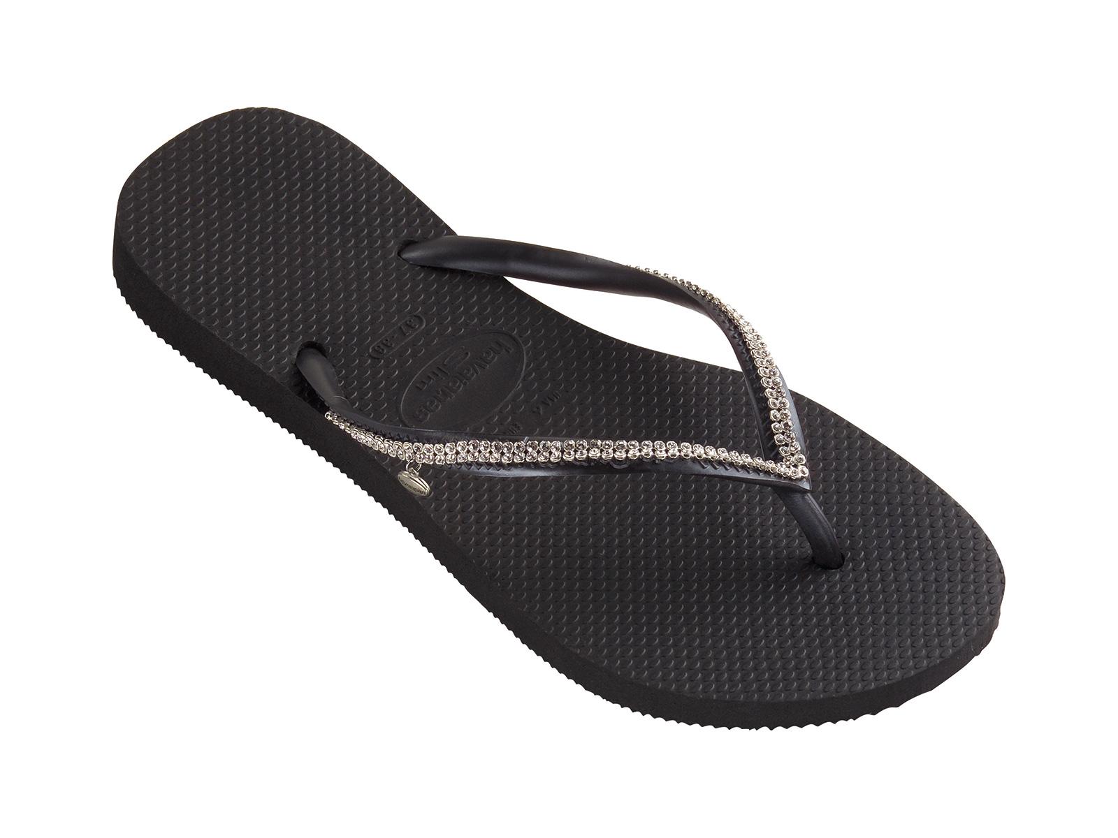 2297432aad96 Black Flip-flops With Swarovski Crystals - Slim Crystal Mesh Sw Black -  Havaianas