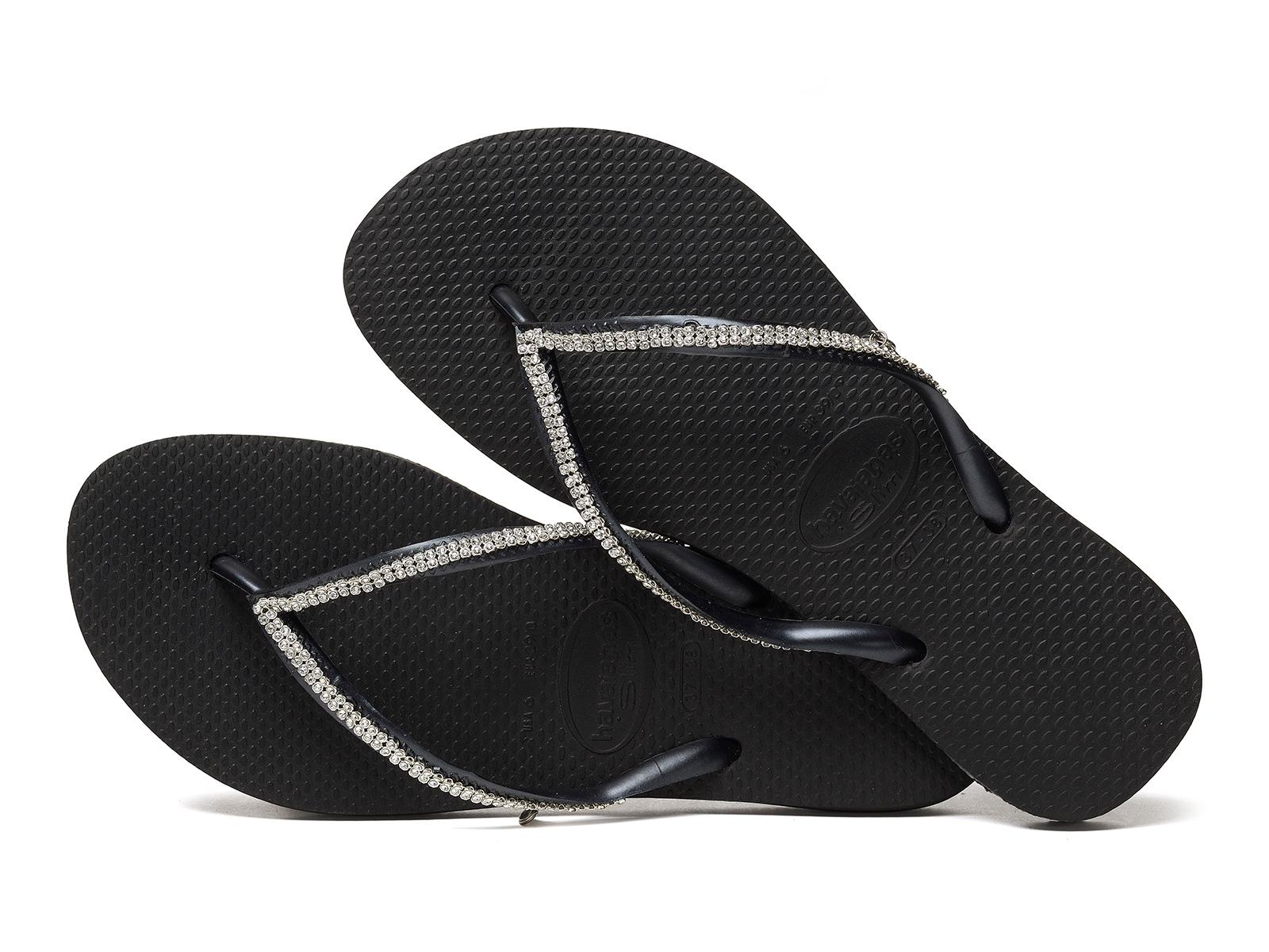 10dbbf7342ef ... Black flip-flops with Swarovski crystals - Slim Crystal Mesh Sw Black  ...