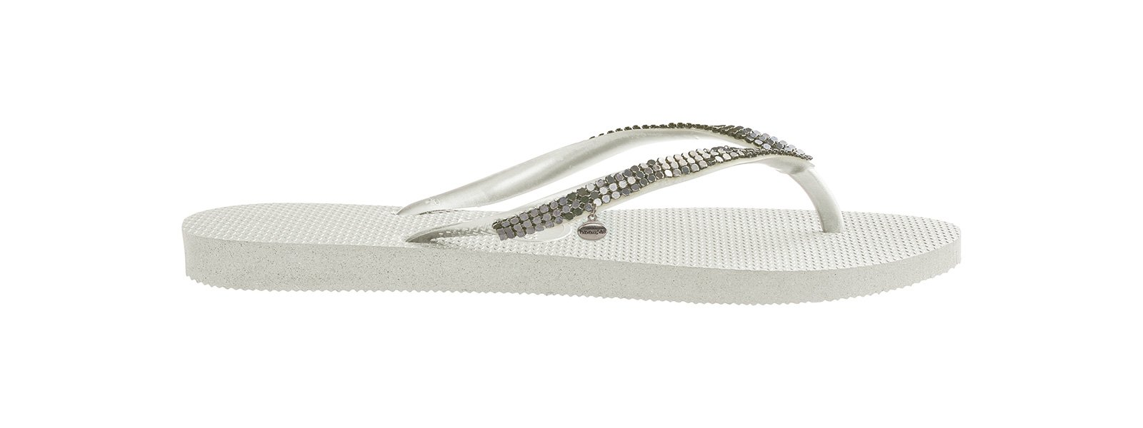 bbe7ada73cdd ... White flip-flops with Swarovski crystals - Slim Crystal Mesh Sw White  ...