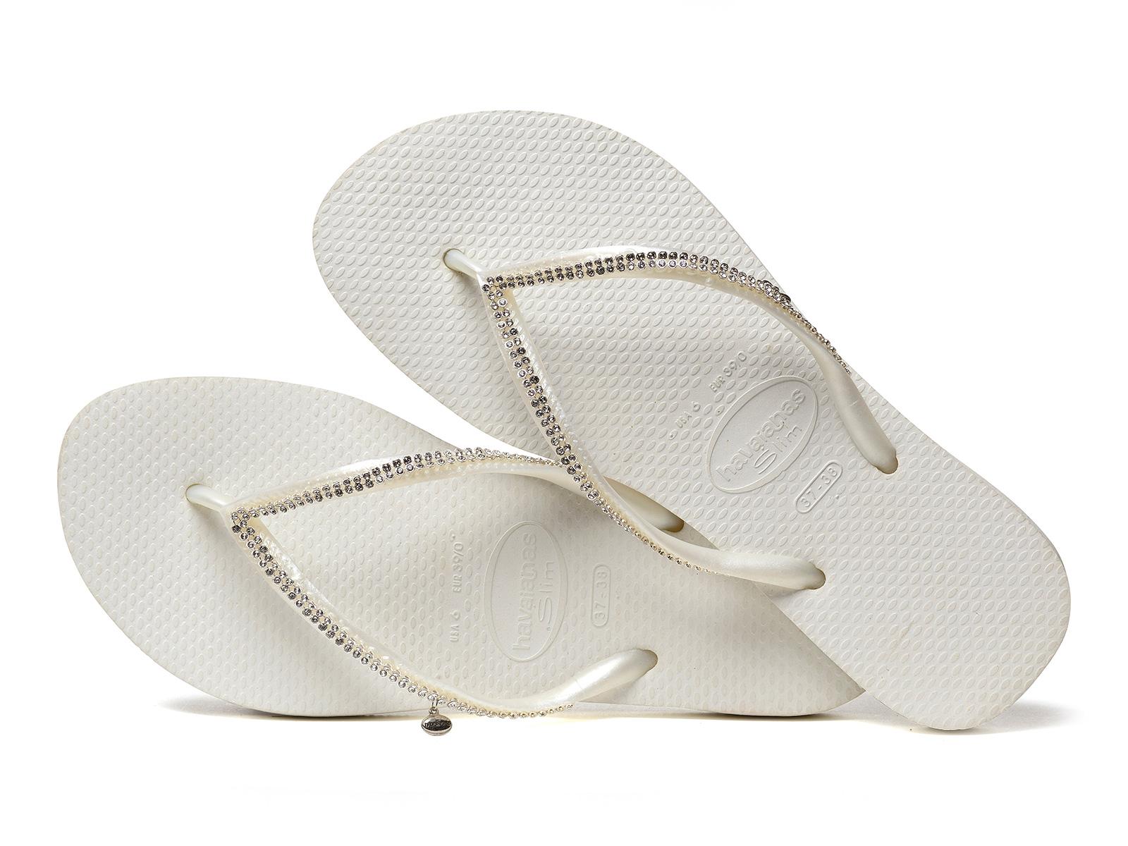 287fa4a8d ... White flip-flops with Swarovski crystals - Slim Crystal Mesh Sw White  ...