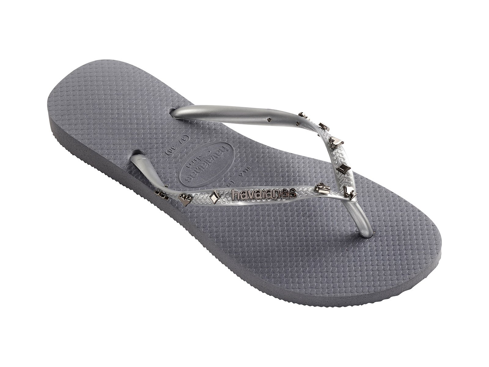40b909215e81 Grey Flip-flops With Silver-coloured Playing Card Symbols - Slim Hardware Steel  Grey - Havaianas