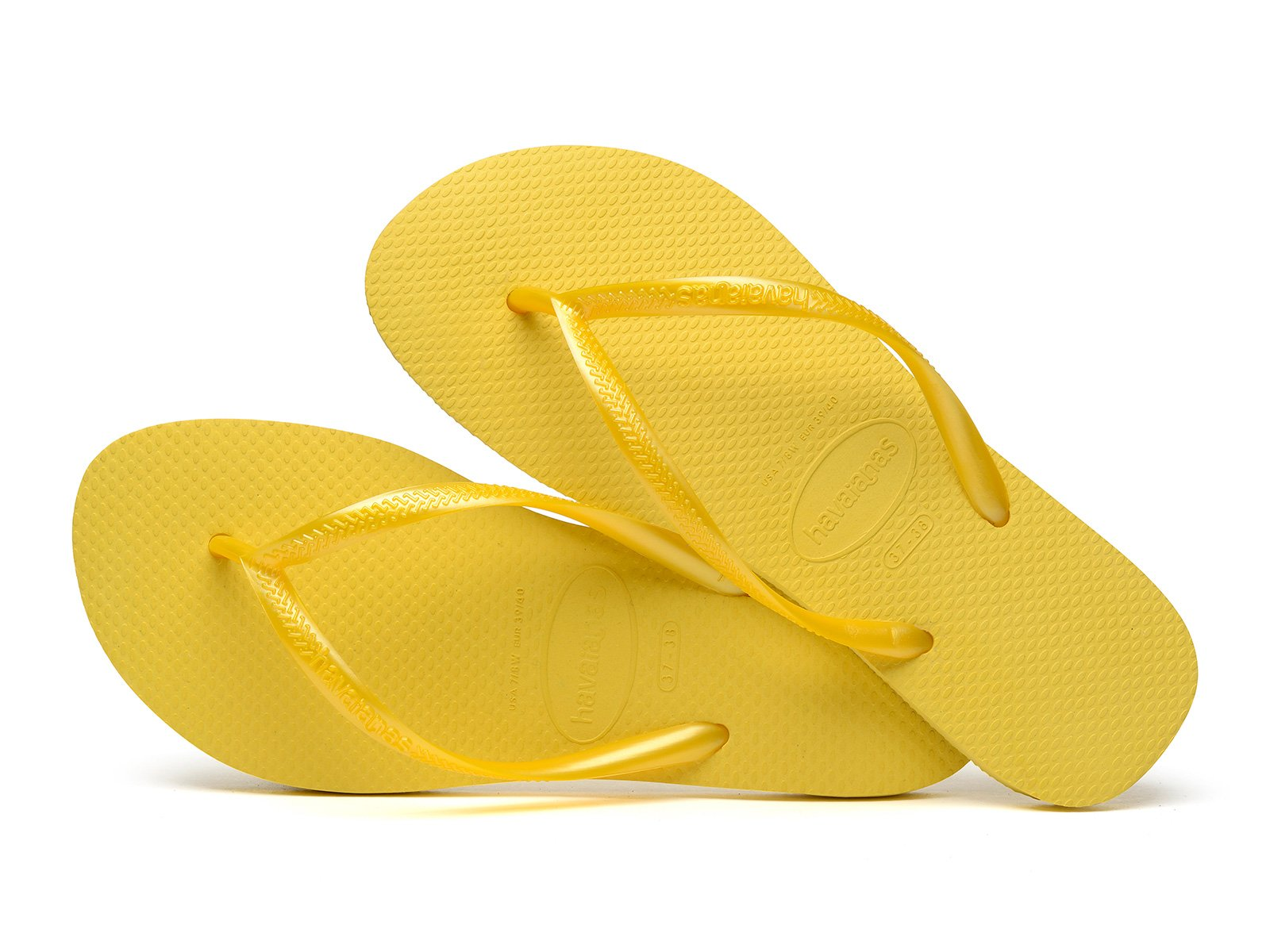Yellow Havaianas Flip Flops With Glossy Effect Straps