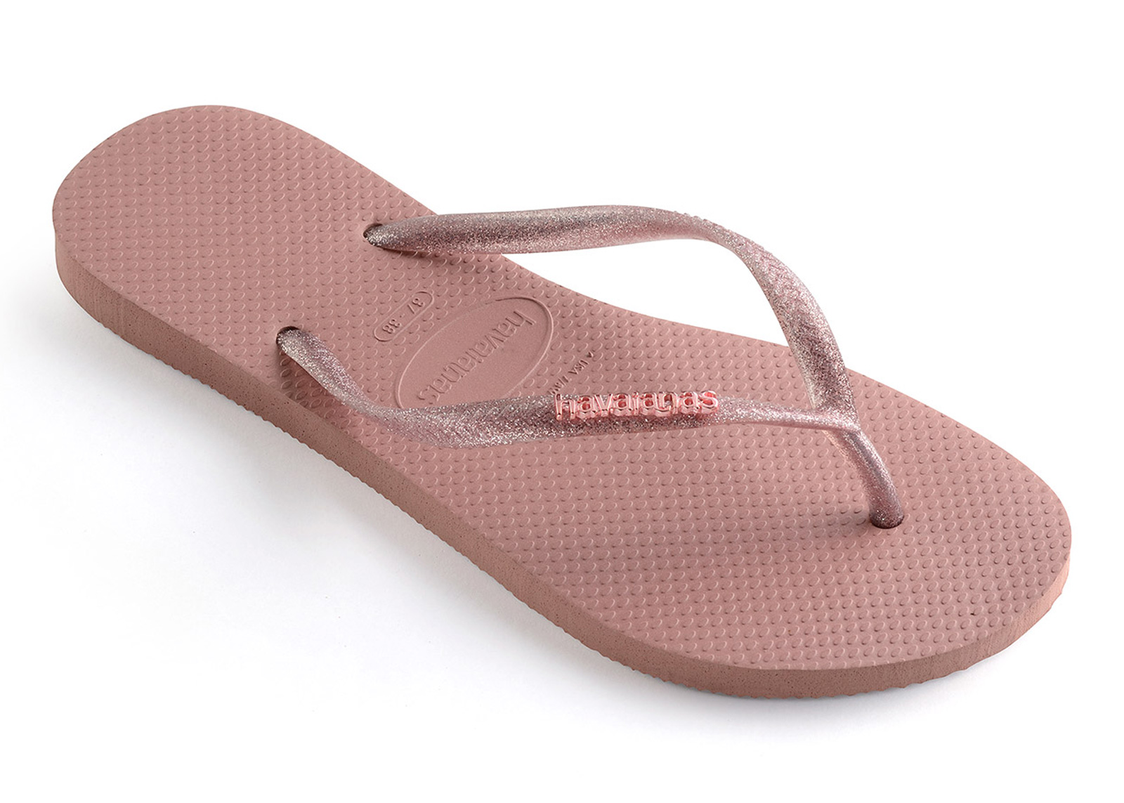 23e6b4b465e Flip-Flops Slim Logo Metallic Rose - Brand Havaianas