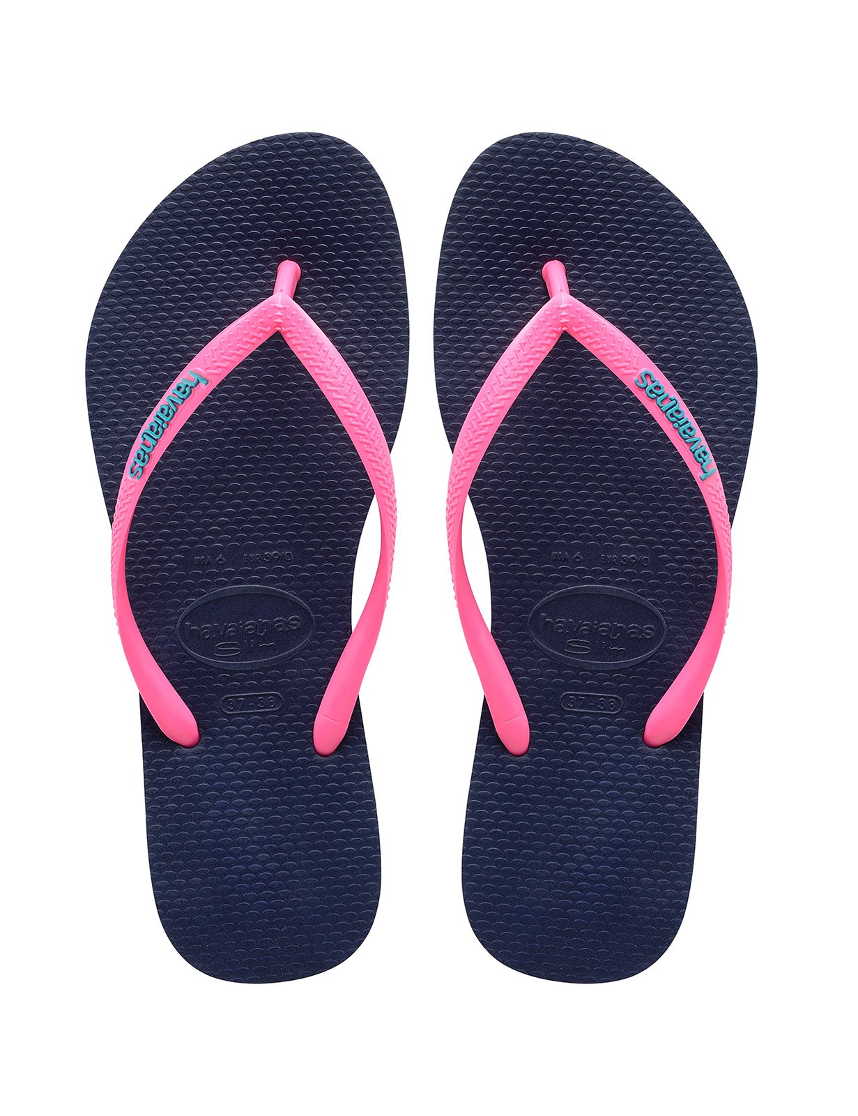 ... Navy blue flip-flops and pink straps with the HAVAIANAS logo - Slim Logo  Navy ... 7047c3abba09