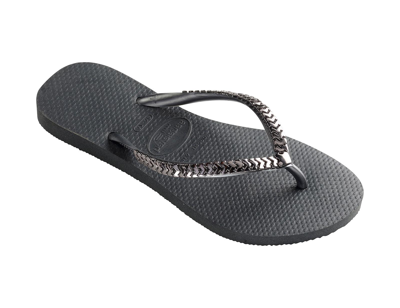 a2a9923f00a5a0 Deep Grey Flip-flops With Metallic Silver Straps - Slim Metal Grega Dark  Grey - Havaianas