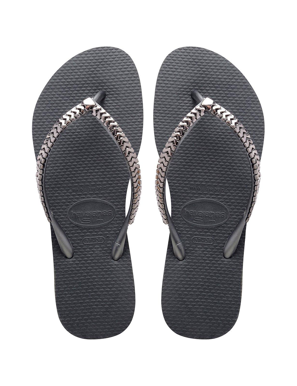708c99c4dfa979 ... Deep grey flip-flops with metallic silver straps - Slim Metal Grega  Dark Grey ...