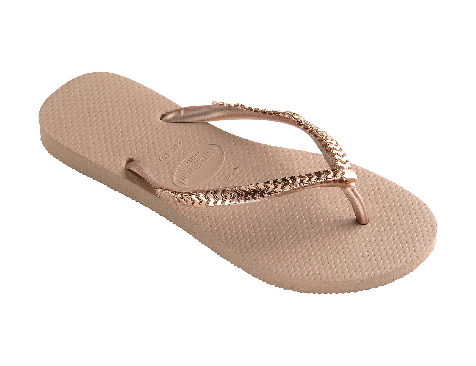 Havaianas Flip-Flops With Metallic Pink Gold Straps - Slim Metal Grega Rose Gold-4576