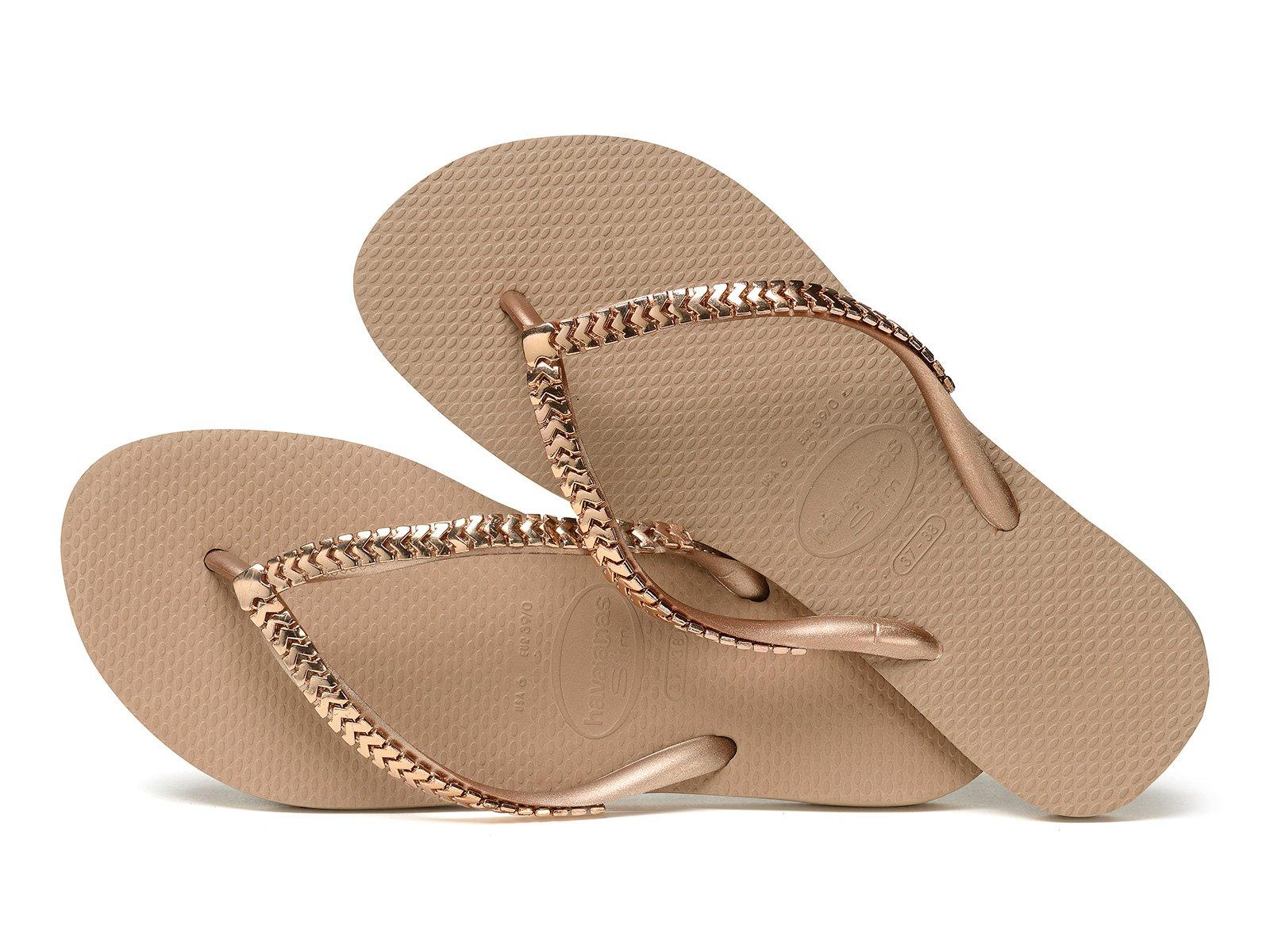 Havaianas flip flops with metallic pink gold straps Slim Metal Grega Rose Gold