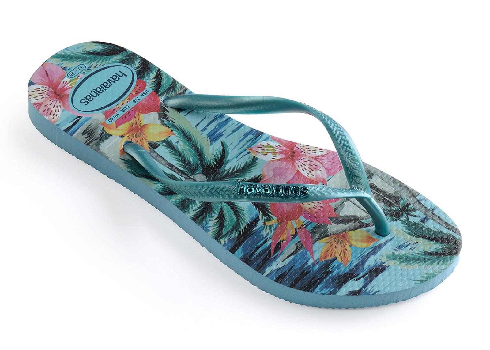 a19c368e4833f5 Flip-Flops Slim Tropical Blue Splash - Brand Havaianas