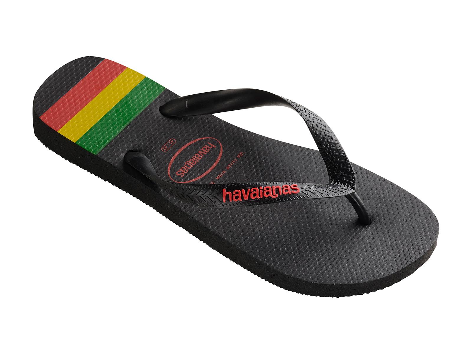 Mens Top Stripes Logo Synthetic Flip-Flops