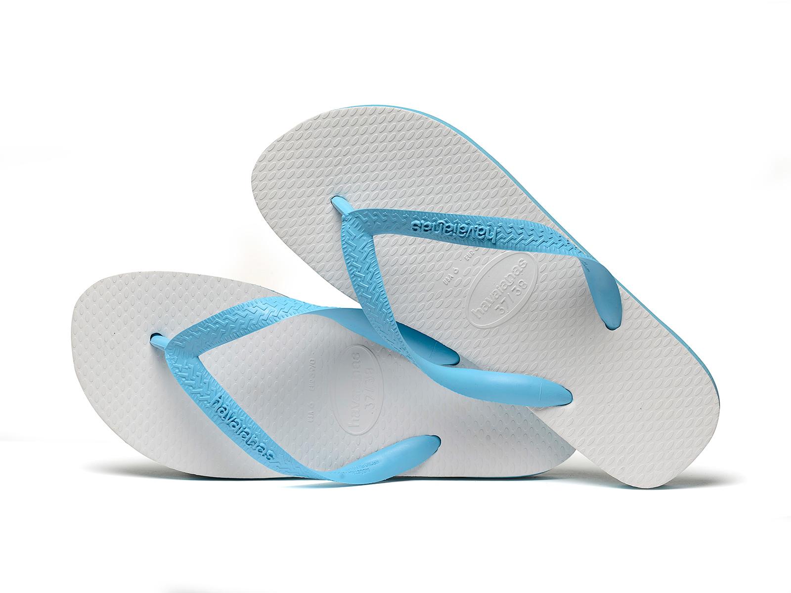 edec753216ac8 ... Chinelos Brasileiros de dois tons em branco e azul céu - Tradicional  Blue ...