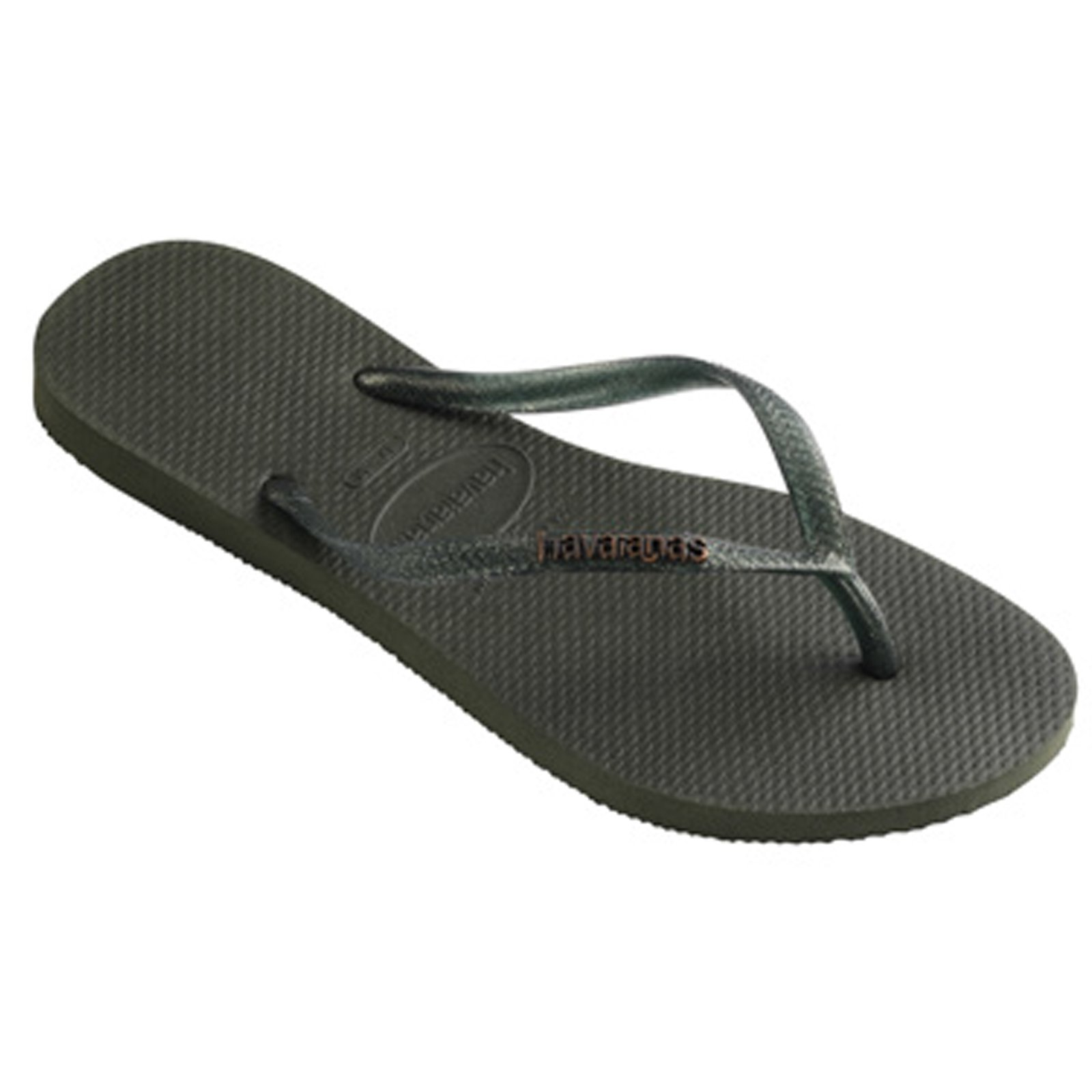 abeccc824342 Flip-Flops Slim Logo Metallic Green Olive - Brand Havaianas
