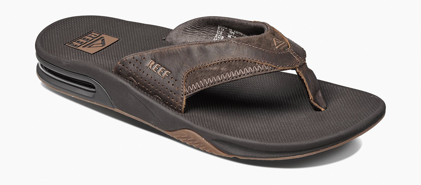 174dc8b873ce Brown flip-flops with integrated bottle opener - LEATHER FANNING BROWN ...