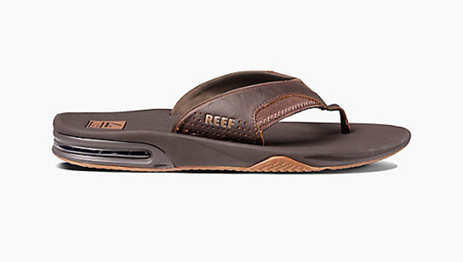 375df4e418f1 ... Brown flip-flops with integrated bottle opener - LEATHER FANNING BROWN  ...