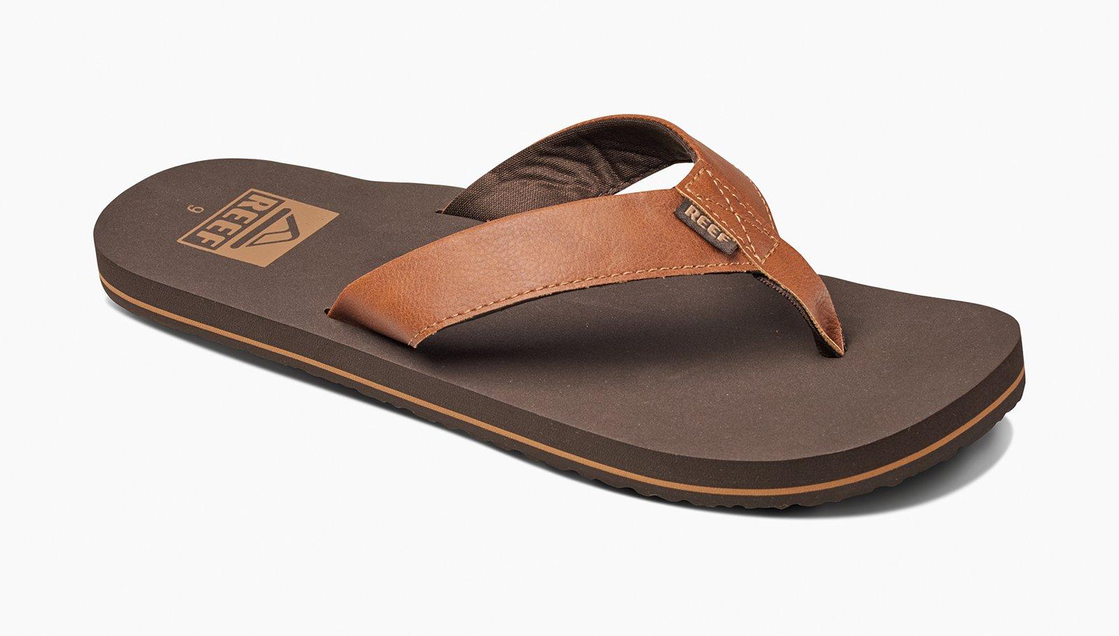 54d6acf5d86f48 Brown Vegan Leather Flip-flops With Eva Soles - Reef Twinpin Brown ...