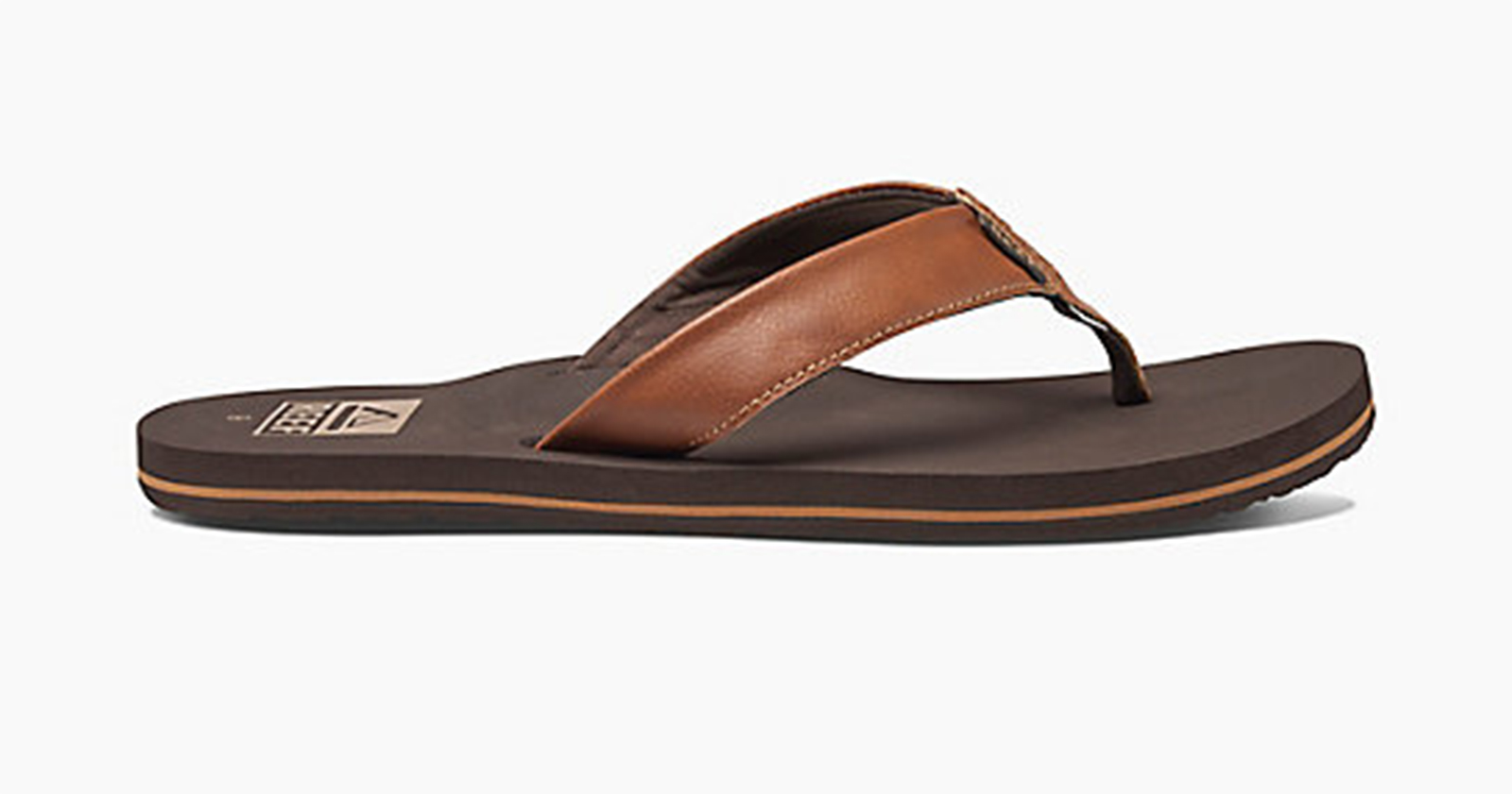 63ba3ff790ba ... Brown vegan leather flip-flops with EVA soles - REEF TWINPIN BROWN ...