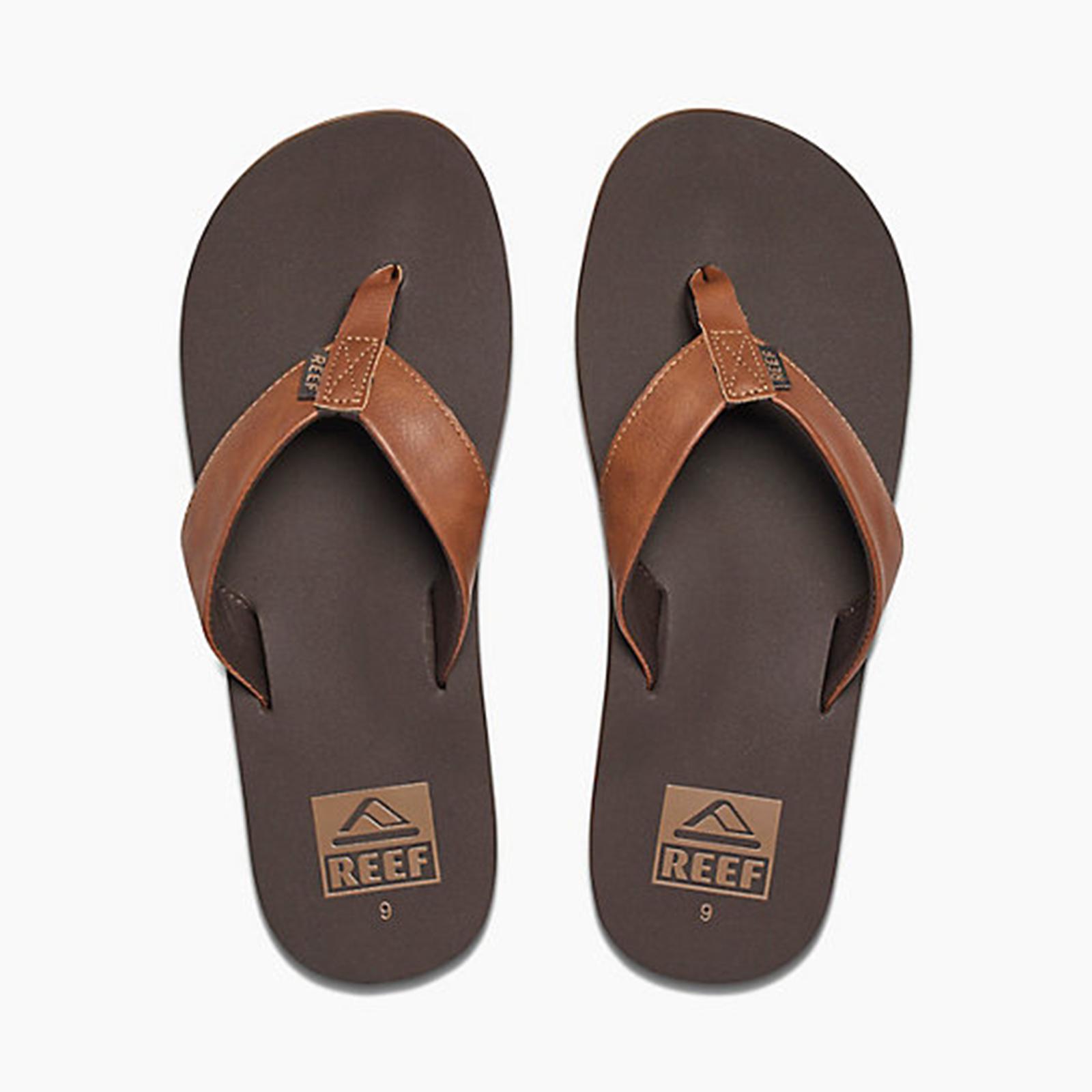 643de29ce218 Brown Vegan Leather Flip-flops With Eva Soles - Reef Twinpin Brown ...