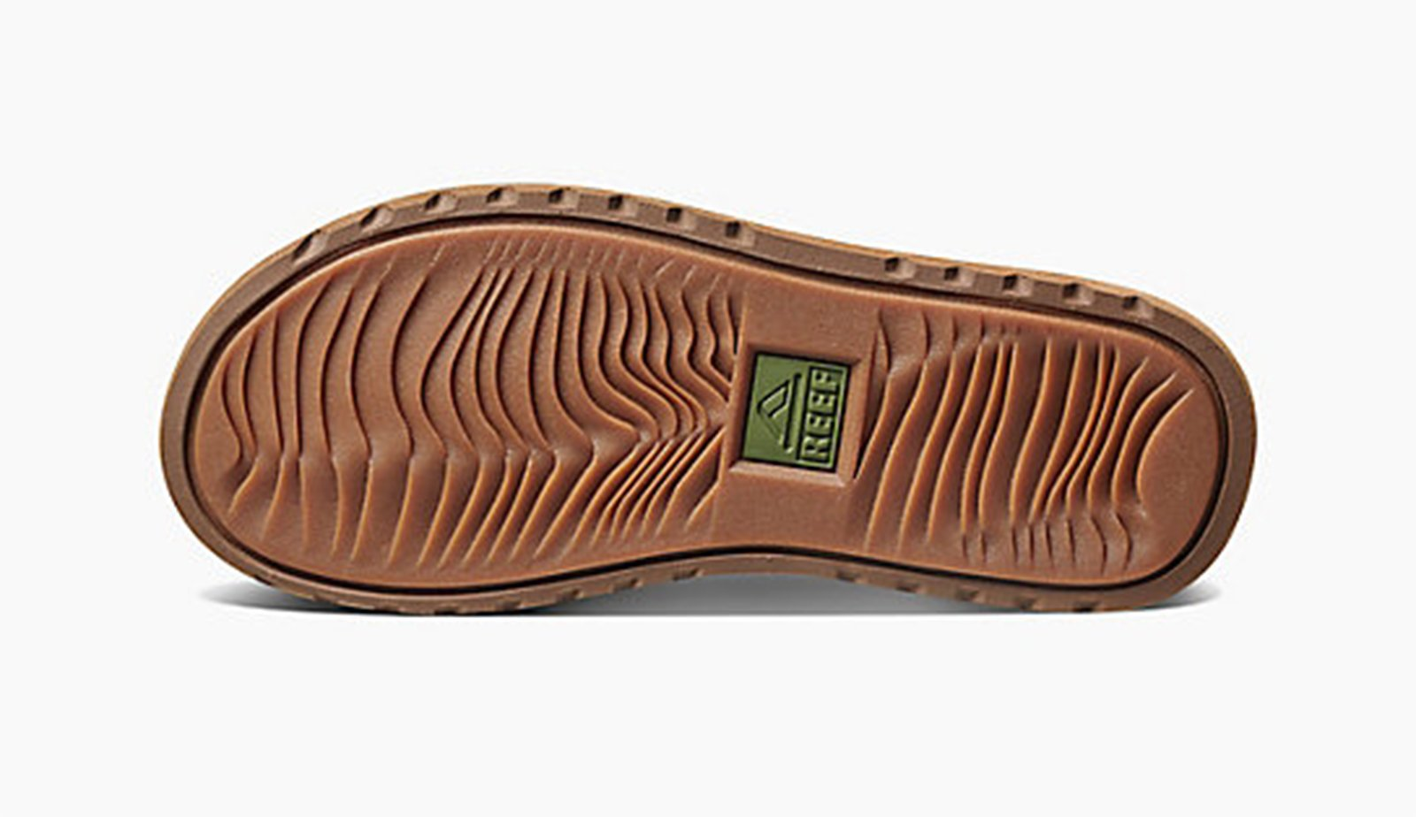 dddaefa0a4c2 ... Læder klipklappere til mænd med bred kakifarvet stofrem - REEF VOYAGE  TX BROWN OLIVE ...