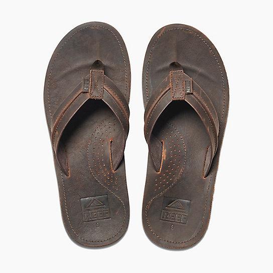 59a707409bd8 ... Dark brown leather flip flops anatomical sole - VOYAGE LUX DARK BROWN