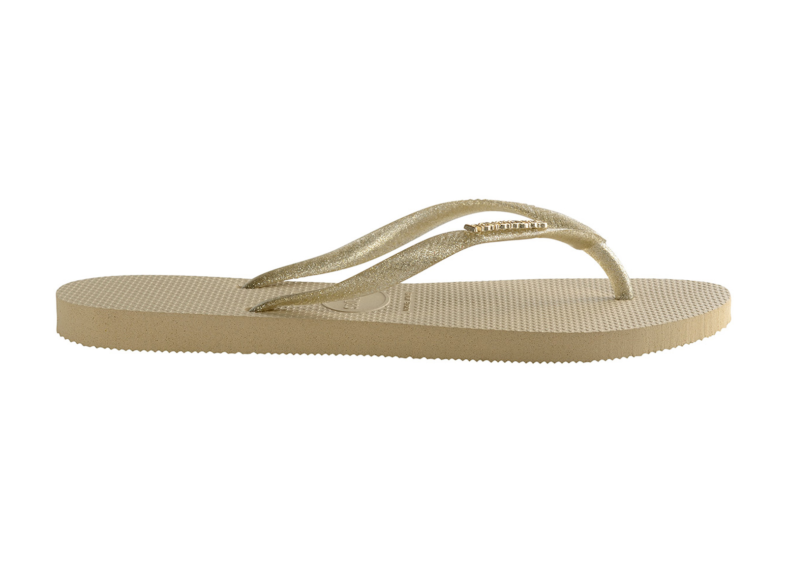 0e354f3e2 Flip-Flops Slim Logo Metallic Sand Grey-light Golden - Brand Havaianas
