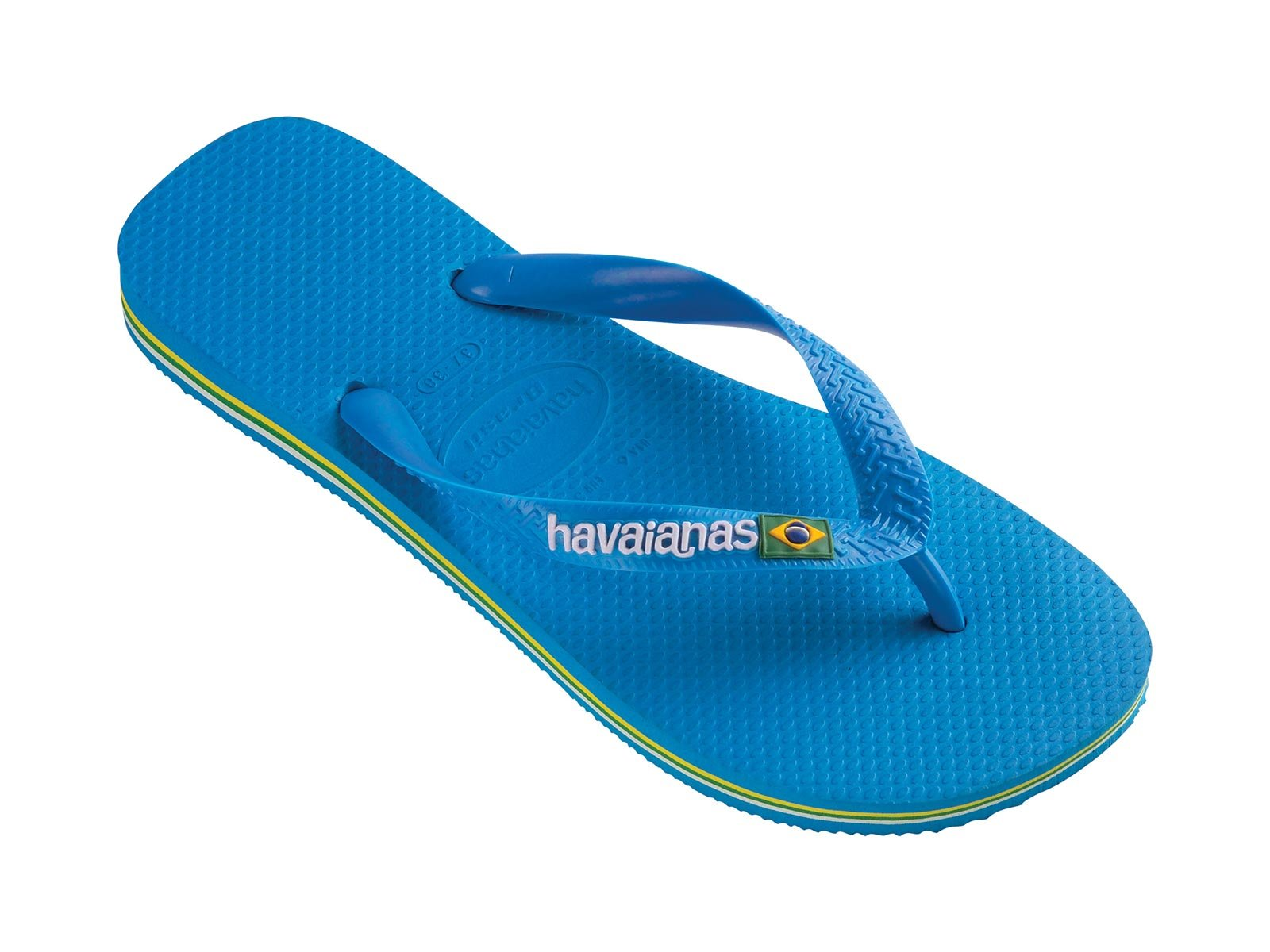 soft rubber flip flops in sky blue havaianas brasil logo blue sky. Black Bedroom Furniture Sets. Home Design Ideas