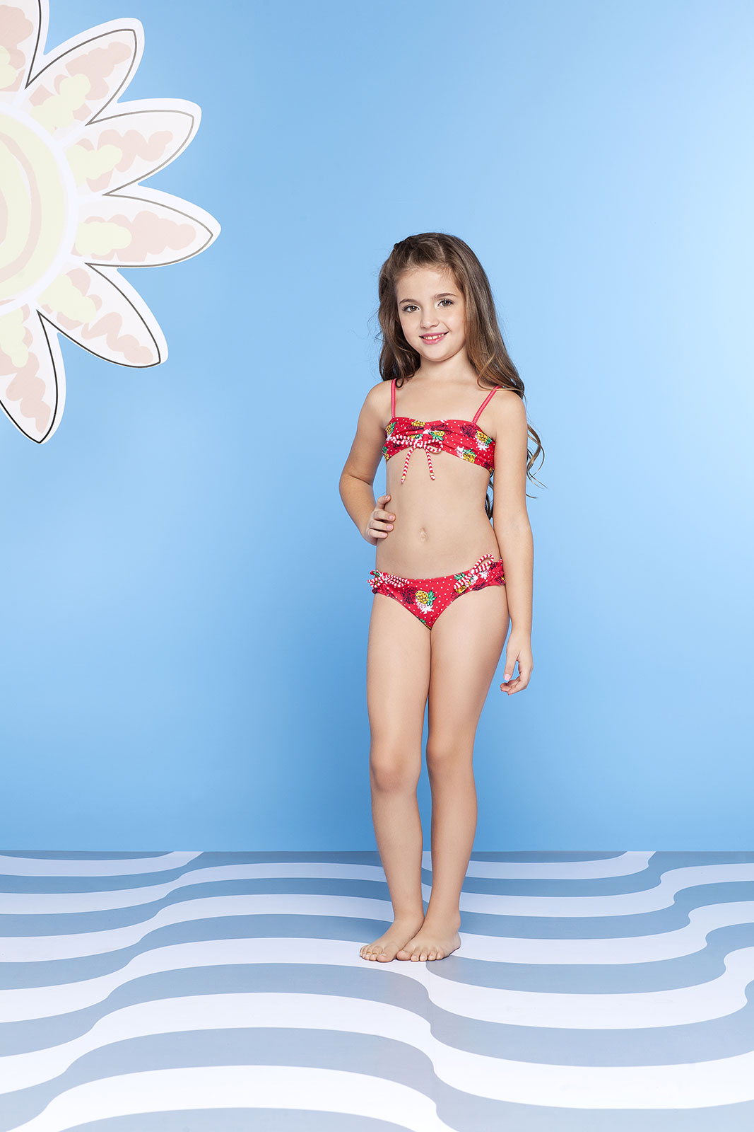 Requinho Girl S Red Two Piece Swimsuit Abacaxi Kids