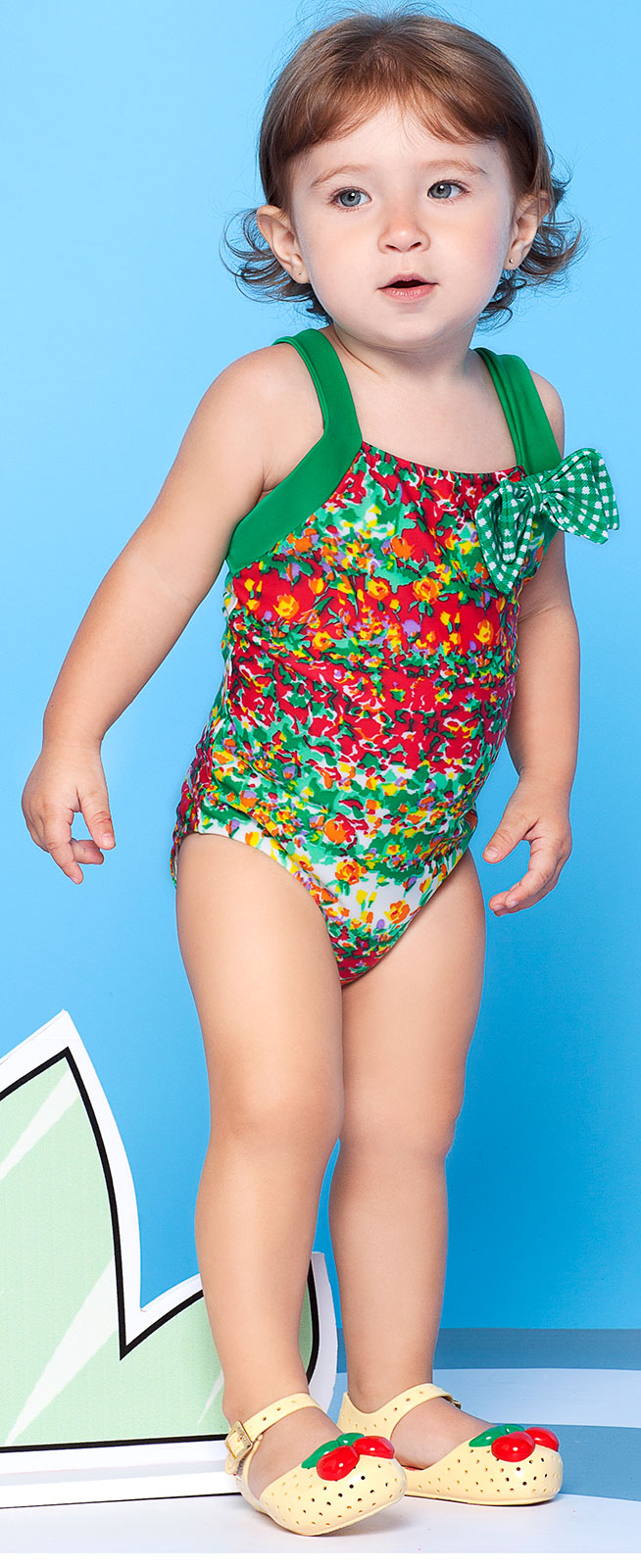 Colourful, Flowery, One-piece Little Girl`s Swimsuit ...