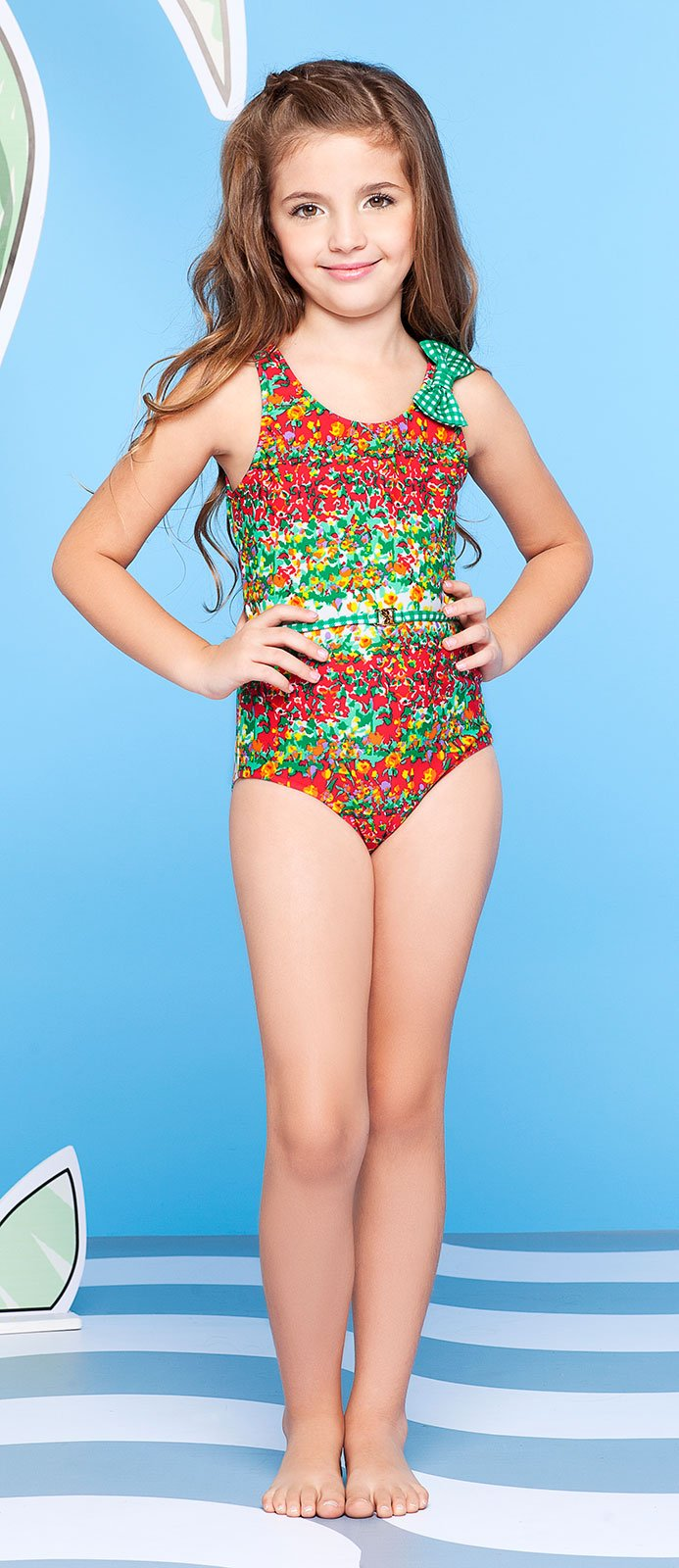 Requinho Flowery One Piece Girl S Swimsuit With Green Bow