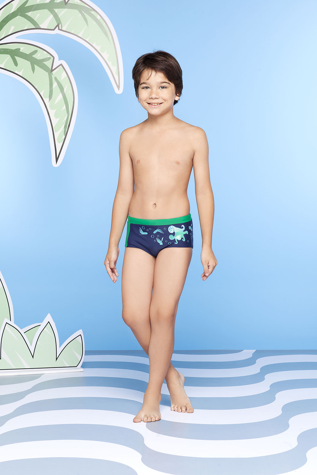 Requinho Boys Navy Blue And Green Octopus Print Swim